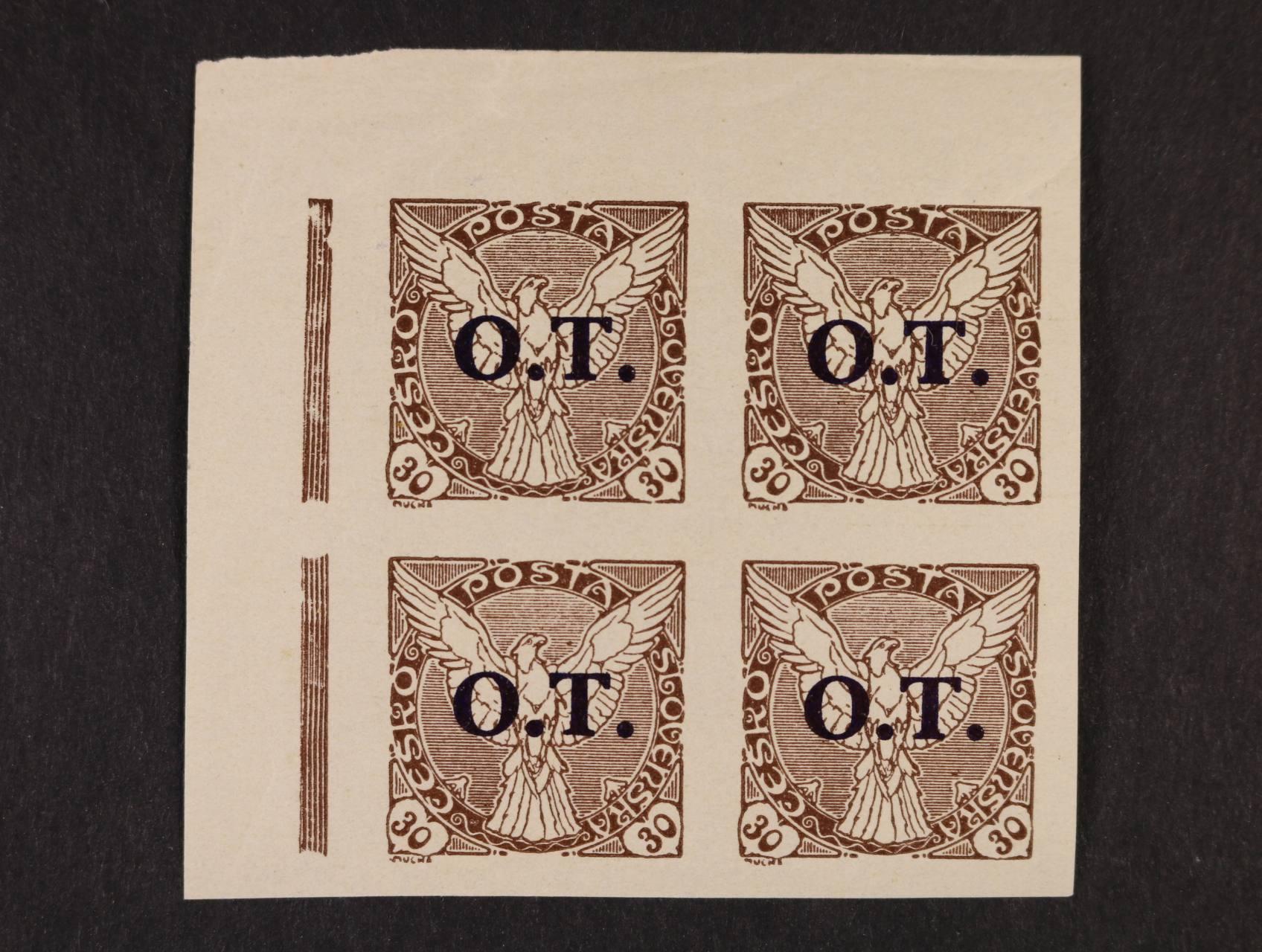 zn. OT č. 3 ST (2x) - levý horní roh. čtyřblok, kat. cena 750 Kč