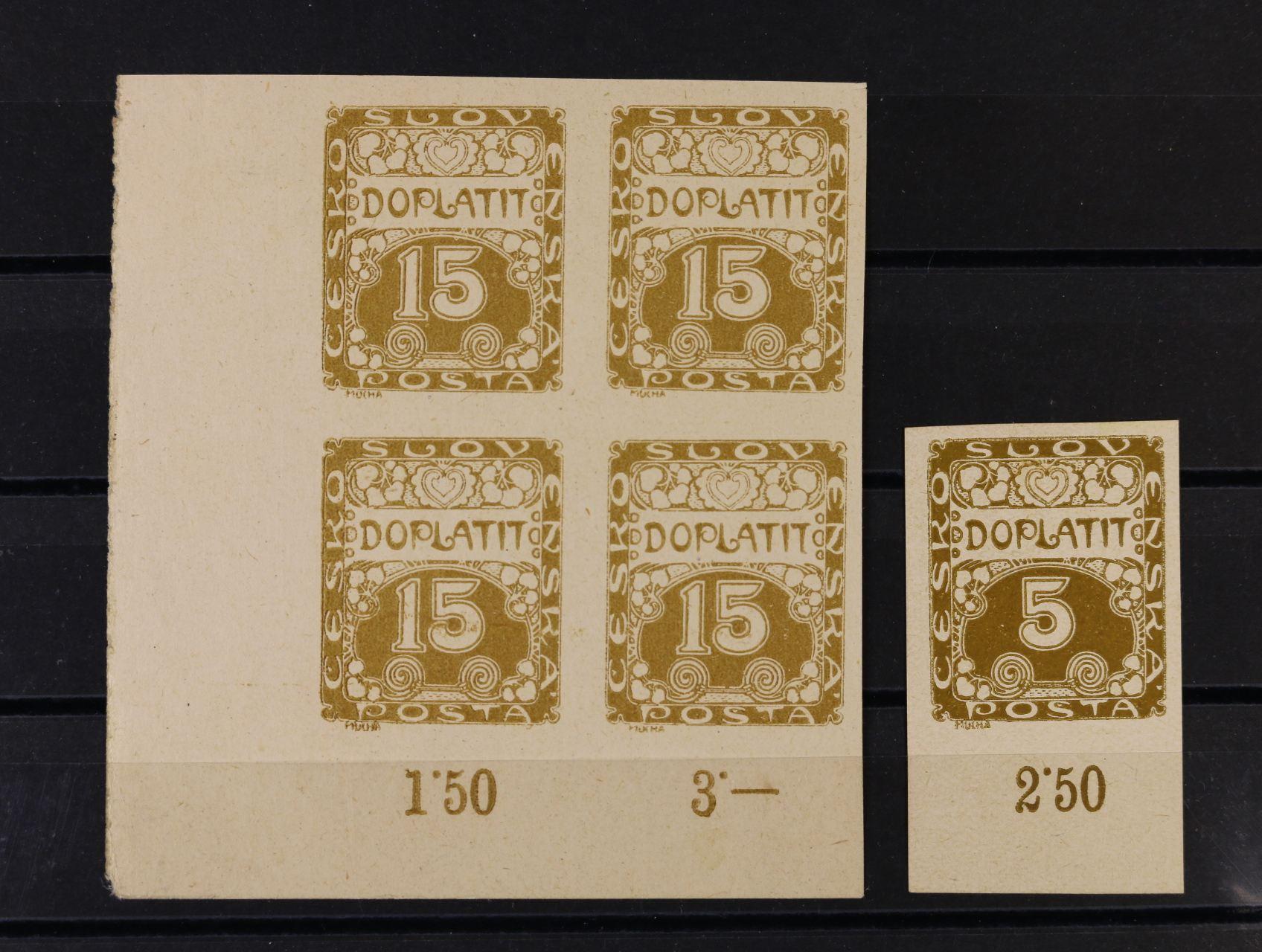 ZT zn. DL č. 1 se spodním okrajem a počitadlem, zk. Stupka, na papíře bez lepu a zn. DL 3 - levý spodní roh. čtyřblok na silném papíře
