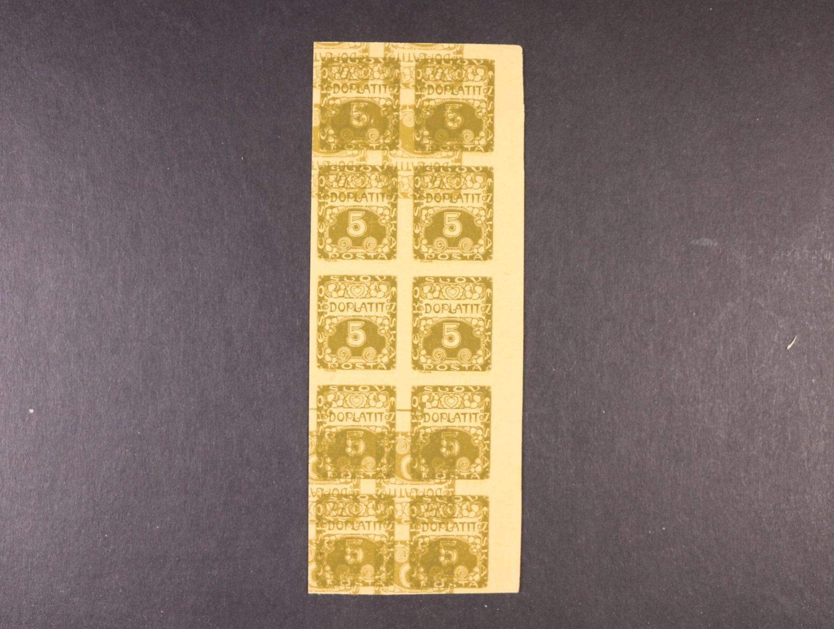 manipul. tisk zn. DL č. 1 - levý horní roh. 10ti-blok přes který je tisk stejnosměrného meziarší zn. DL č. 1 s DL 2, zajímavé