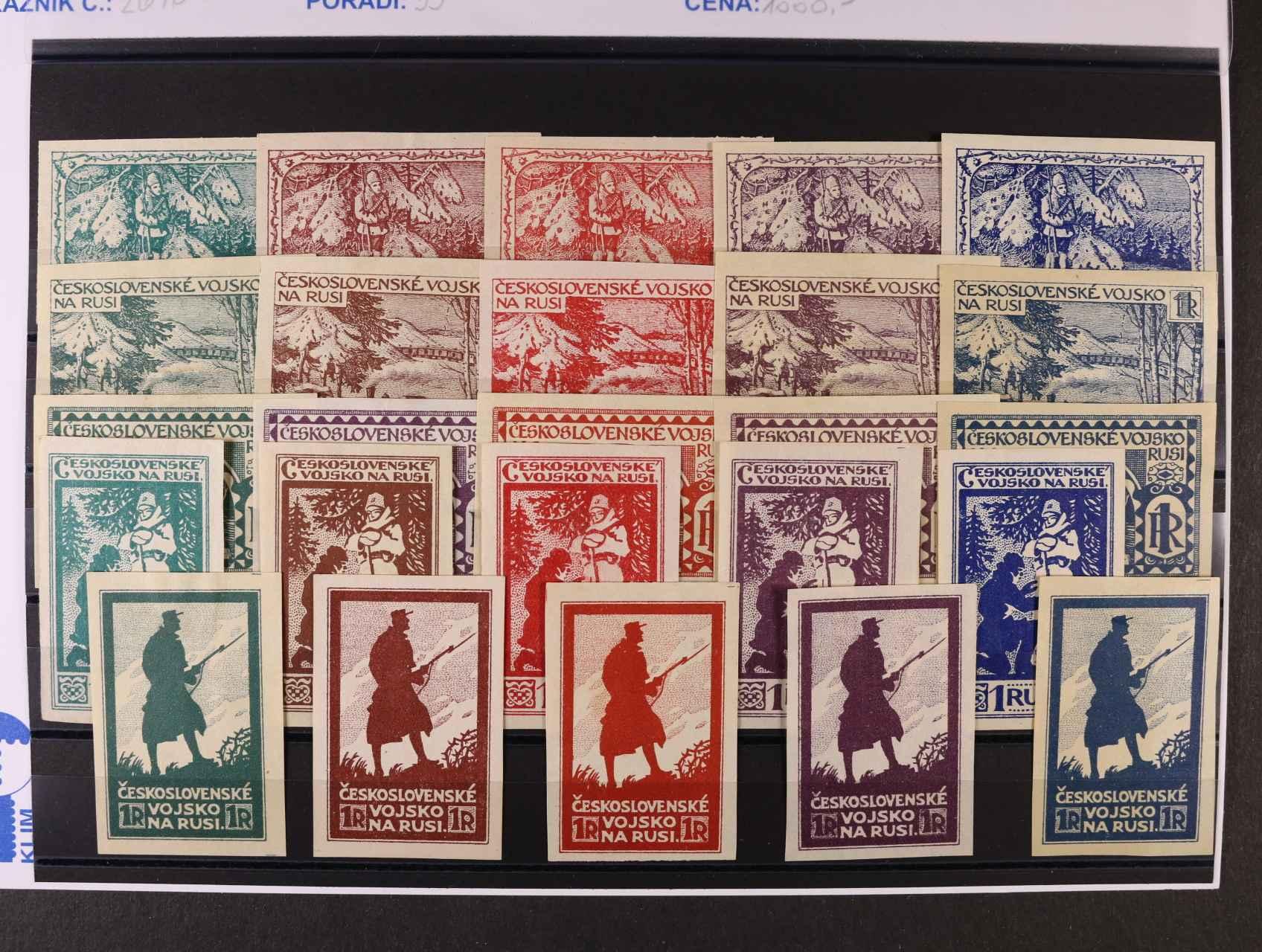 sestava 25 ks esejí (5 různých kreseb) vždy v barvě zelené, hnědé, červené, fialové a modré