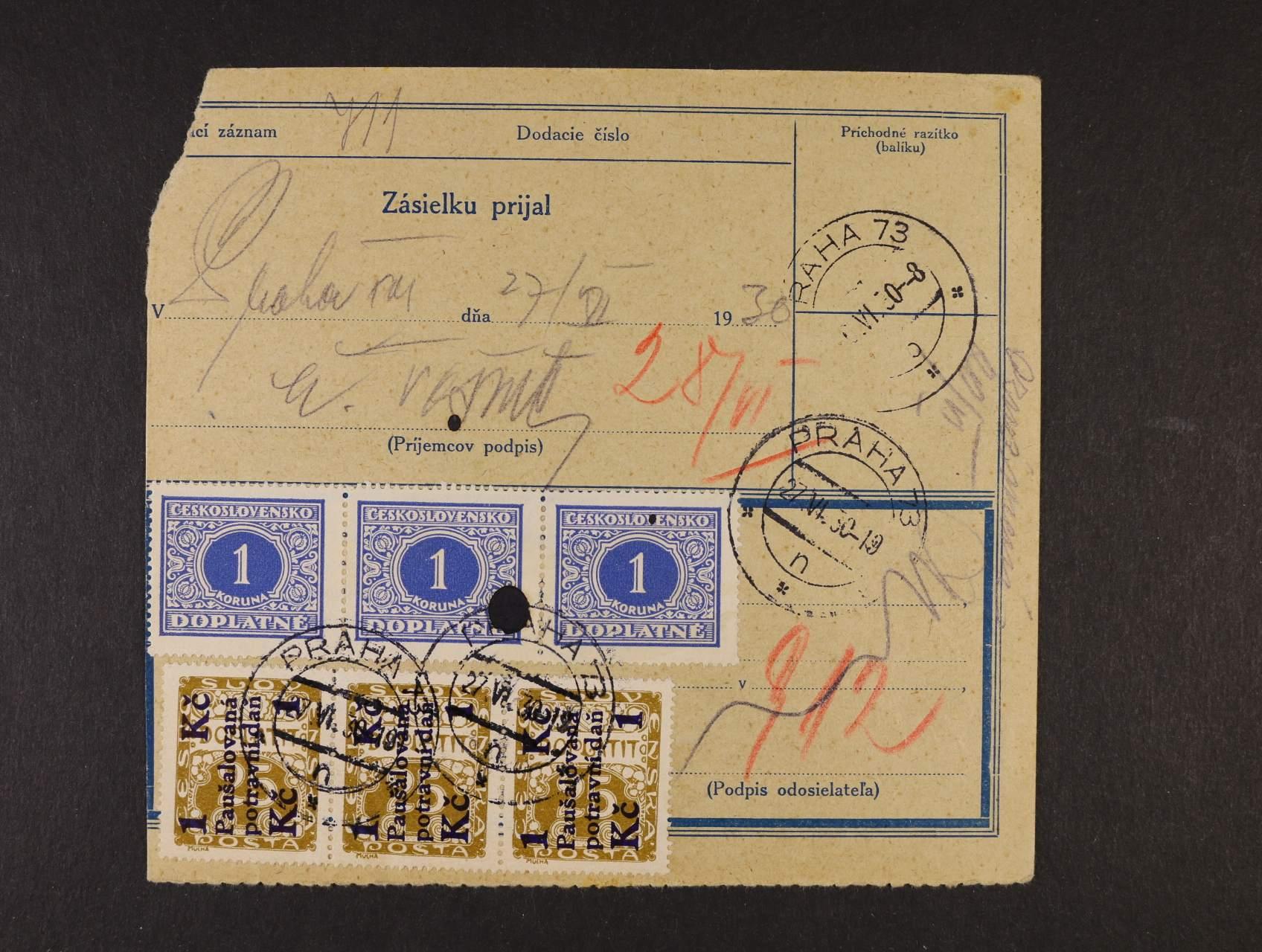 Potravinová daň - pošt. průvodka frank. smíš. frankaturou zn. DL 62 ve vodorovné třípásce + PD 1 ve svislé třípásce s raz. PRAHA 73 27.6.30, velmi vzácné