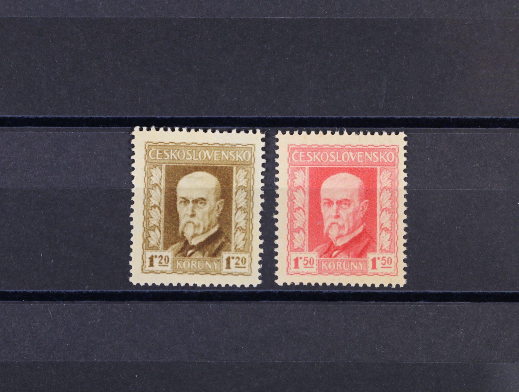 ZT zn. s portrétem TGM pro CDV 33 v barvě hnědé a pro CDV 35 v barvě červené, zk. Karásek