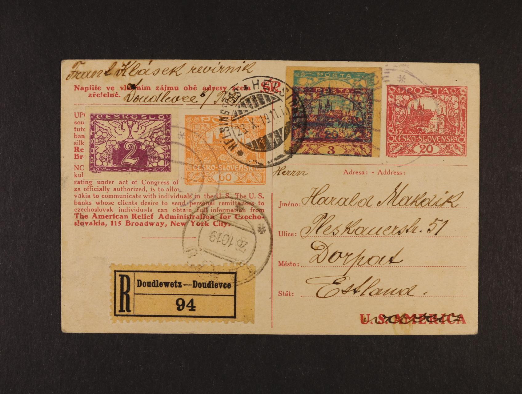 CDV č. 16 A  RECO dofrank. do Estonska, pod. raz. DOUDLEVCE 18.10.1919, průch. raz. HELSINKY 23.10.19 a TURKU 26.10.19, zajímavé