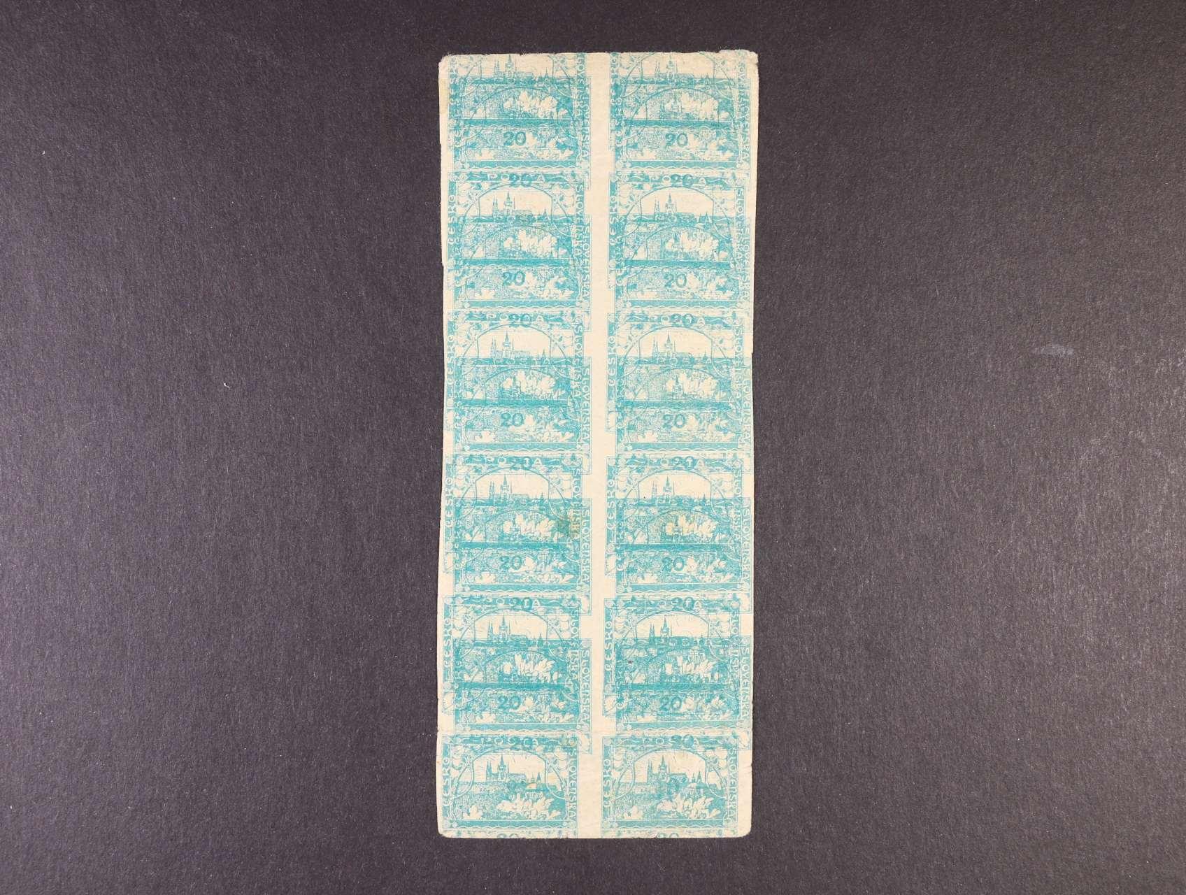 zn. č. 8 ve svislém 12ti-bloku s dvojitým tiskem, kvalita k prohlédnutí