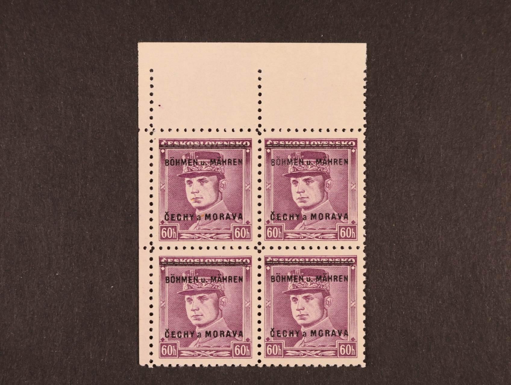 zn. č. 8 - levý horní roh. čtyřblok s nápichovým bodem nad ZP 1, kat. cena 3200 Kč