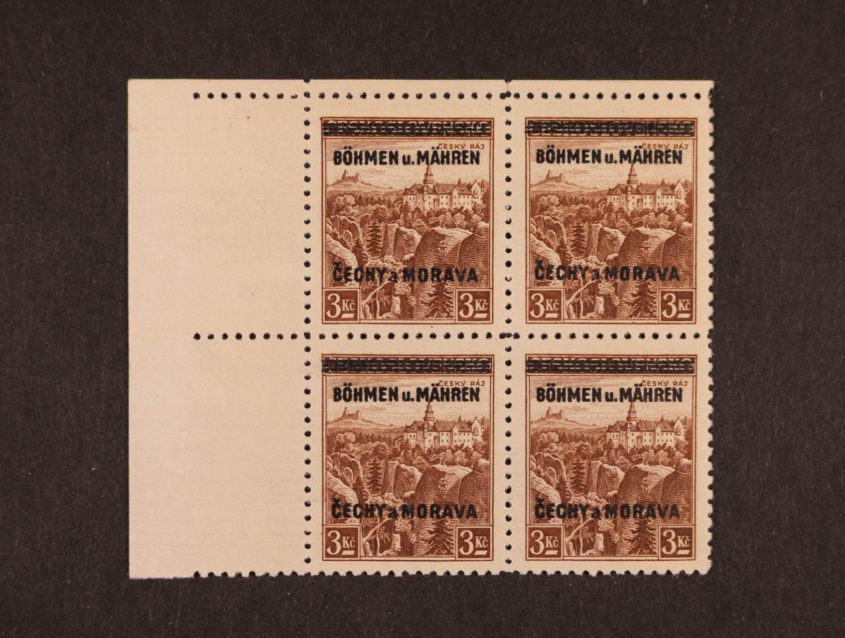 zn. č. 16 - levý horní roh. čtyřblok s nápichovým bodem, kat. cena 2800 Kč