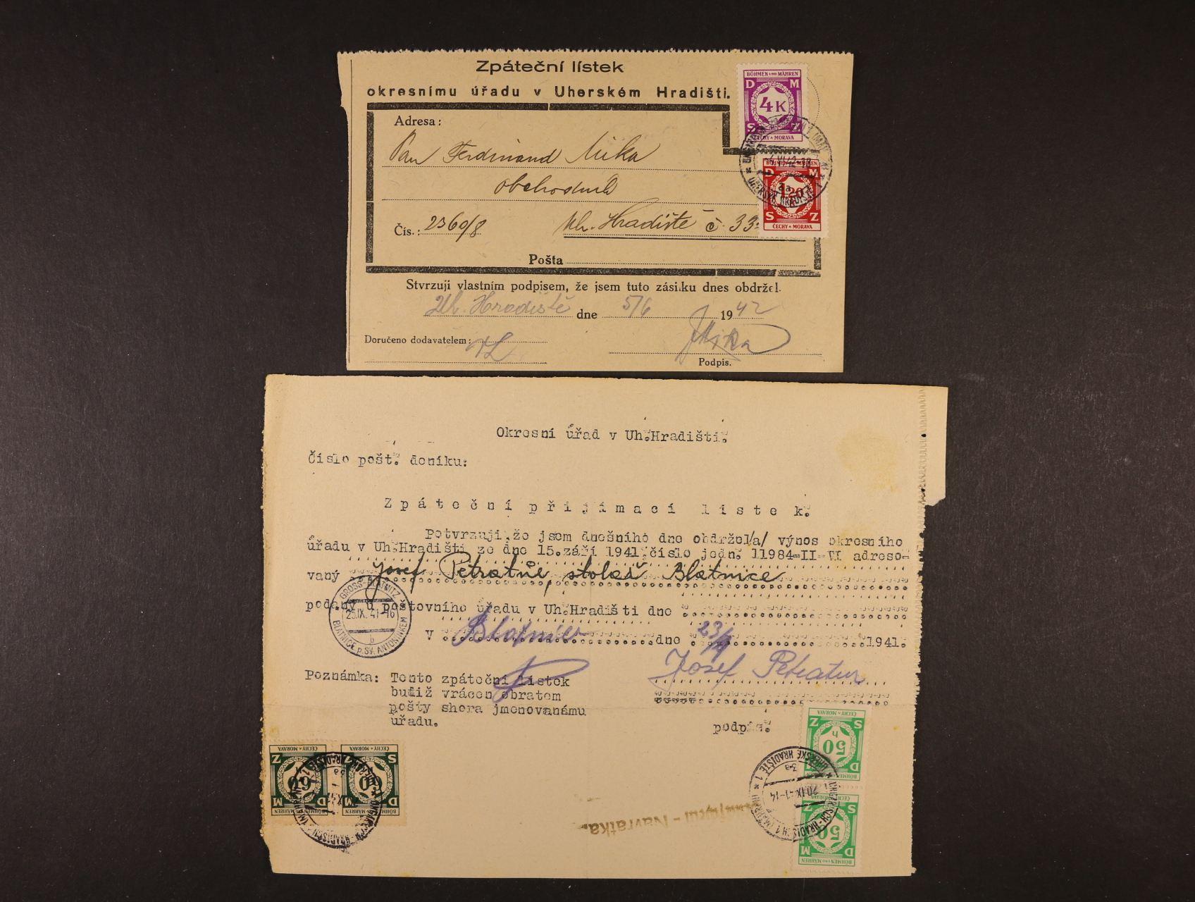 dva různé zpáteční lístky frank. služ. známkami, pestrá vysoká frankatura