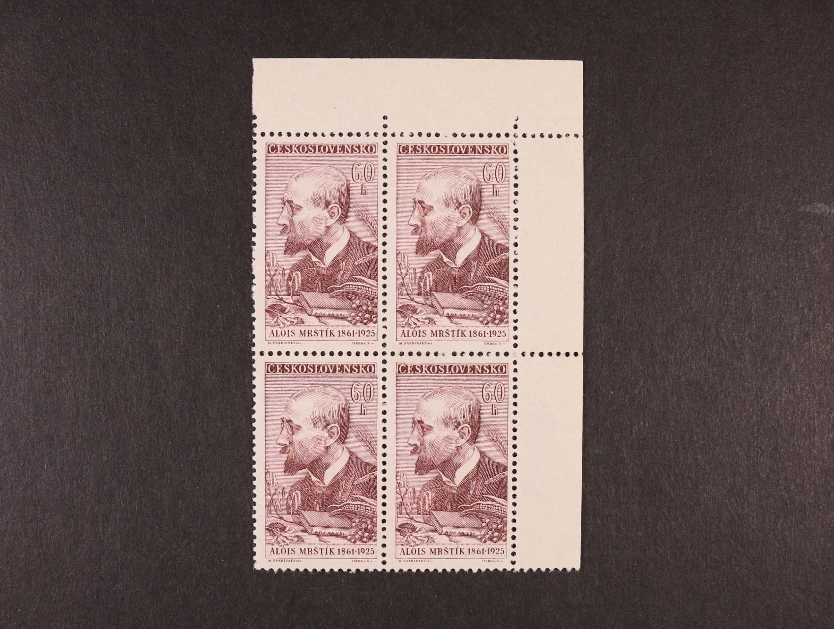 zn. č. 1175 ST - levý horní roh. čtyřblok se dvěma ST, kat. cena min. 10000 Kč