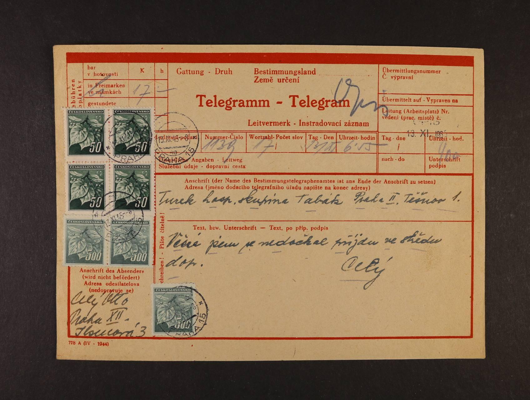 protektorátní dvojjazyčný formulář Telegramm - Telegram frank. čtyřblokem zn. č. 374 a 3x zn. č. 379, raz. PRAHA 15 13.11.1945, lux. kvalita, zajímavé