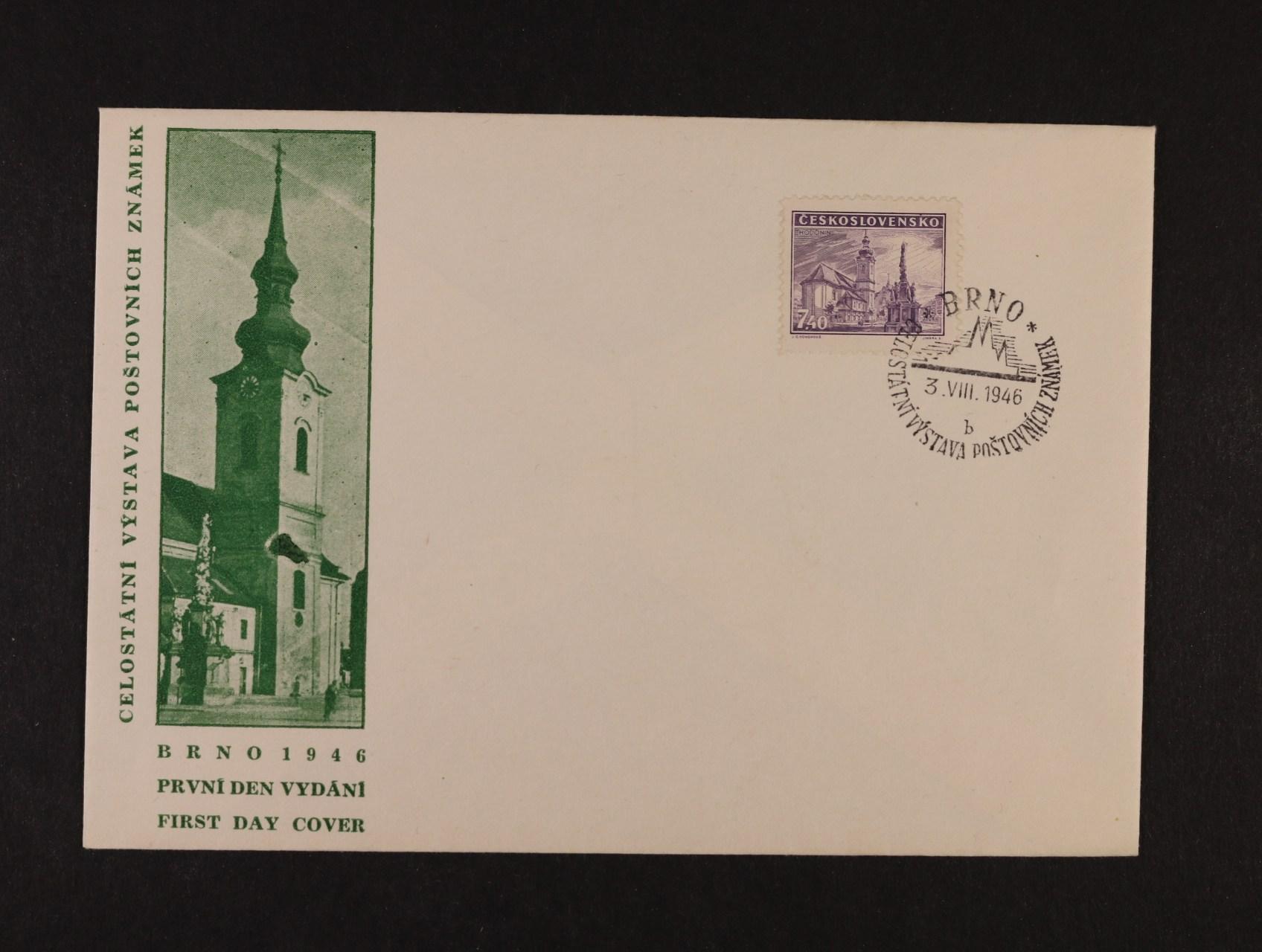 předběžné obálky  -  obálka 1. dne s kresbou a nápisem FDC vlevo a zn. 439  s raz. BRNO 3.8.46