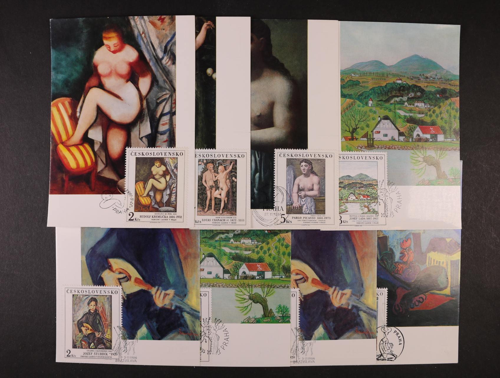 sestava 18 ks CM z let 1967 - 87 s náměty umění