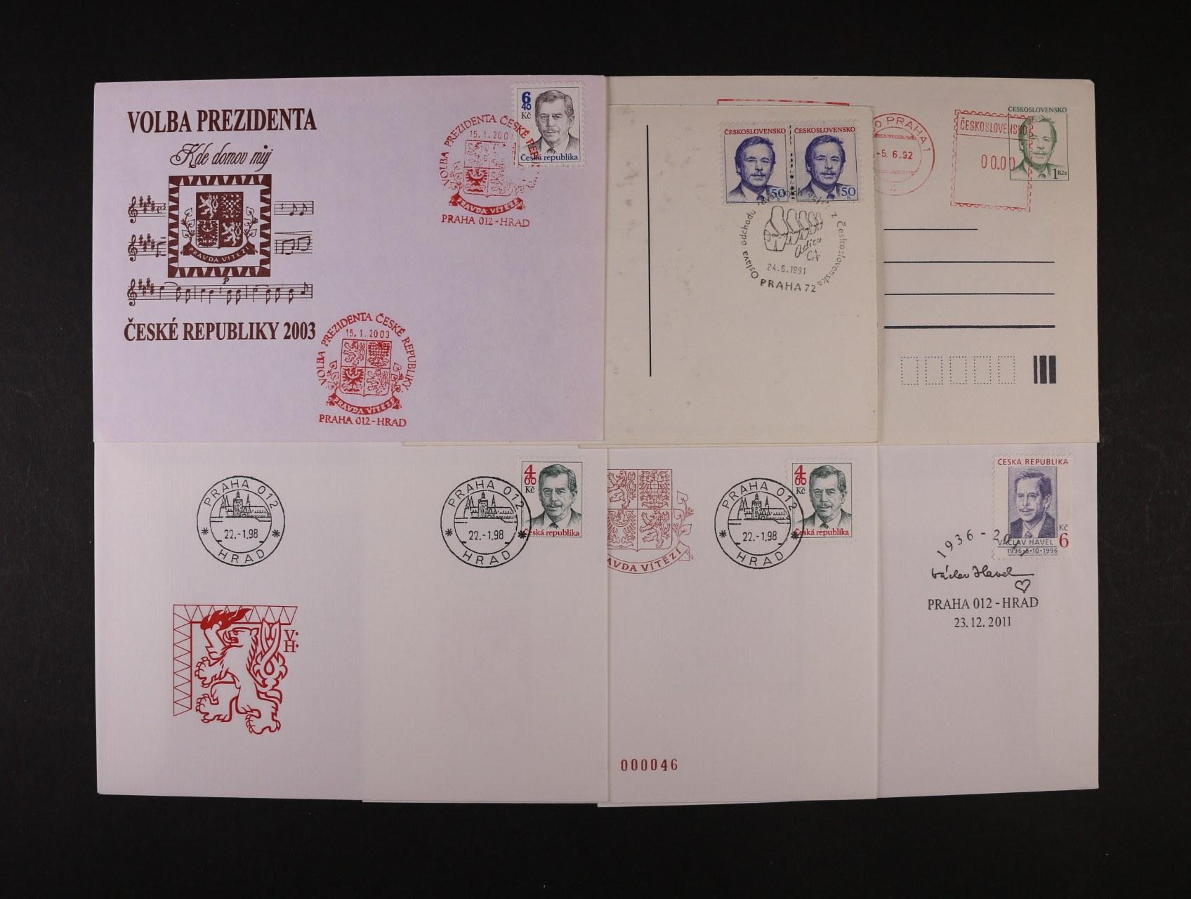 sestava 14 ks různých celistvostí vydaných k volbě prezidenta republiky, zajímavé
