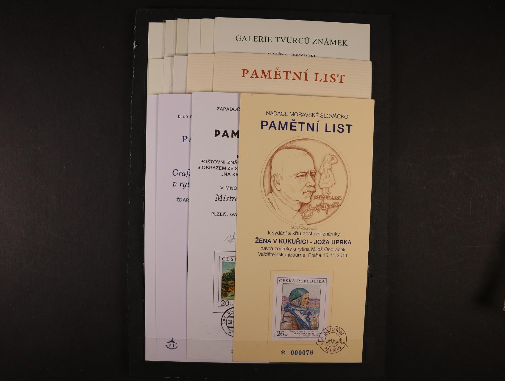 sestava 31 ks různých pam. listů z let 2003 - 2013, zajímavé