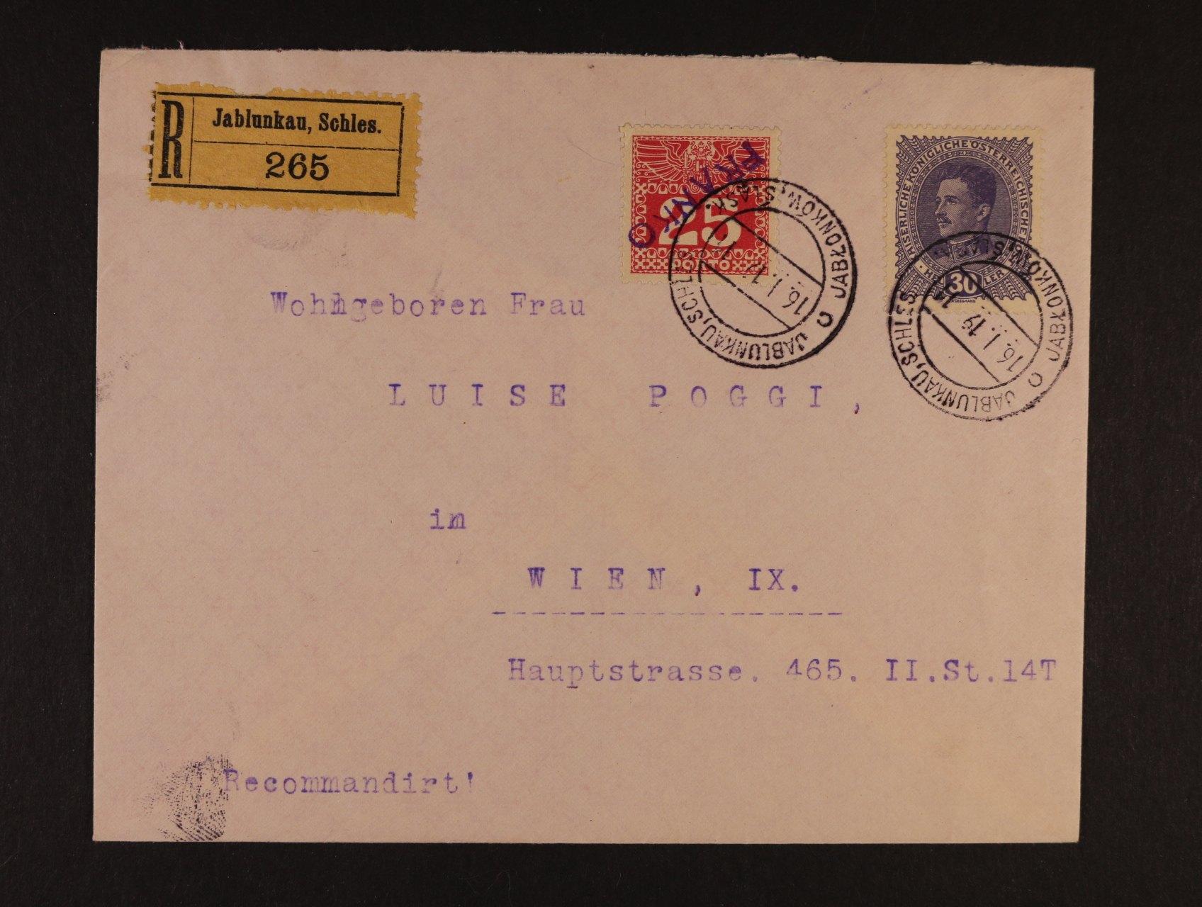 R-dopis do Vídně frank. zn. Mi. č. 224 a dopl. zn. Mi. P 41 jako výplatní, pod. raz. JABLUNKAU, SCHLES. 16.1.19