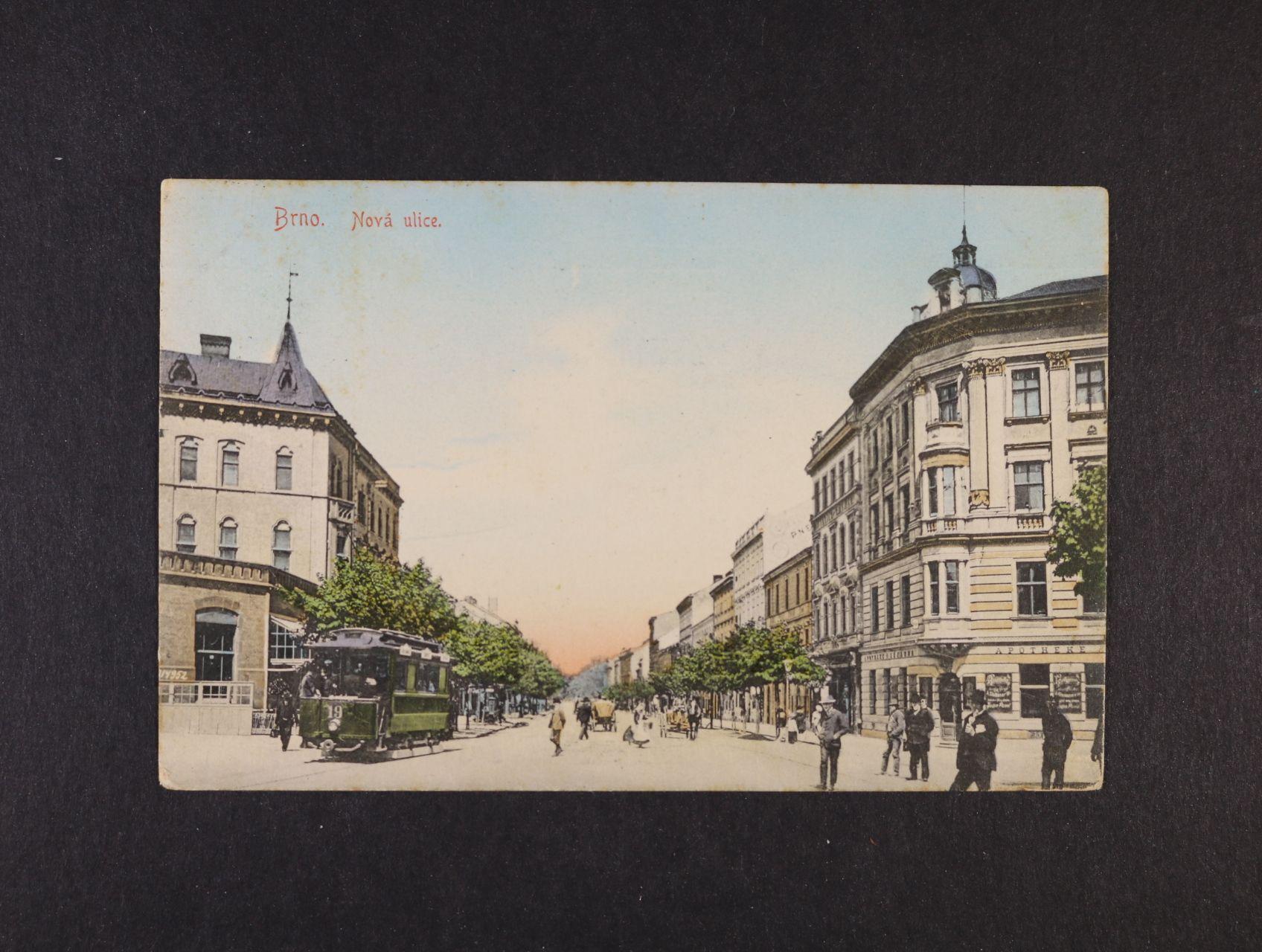 Brno - bar. pohlednice Nová ulice s tramvají, použitá 1911, odlepená zn.