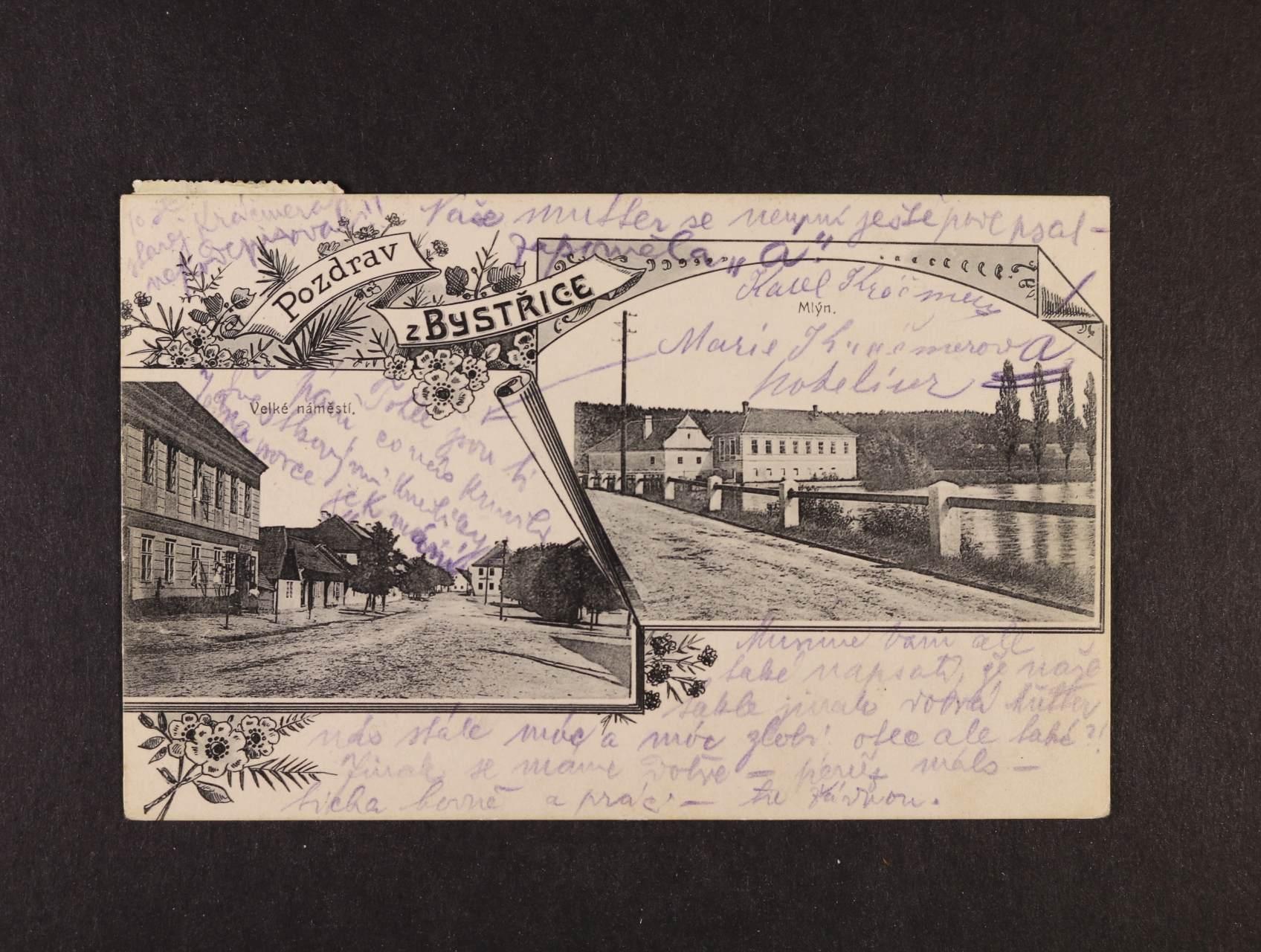 Bystřice - jednobar. koláž použitá 1910