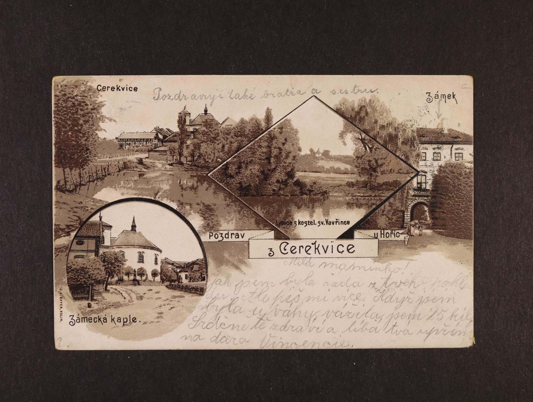 Cerekvice - jednobar. litograf. koláž, dl. adresa, použitá 1900