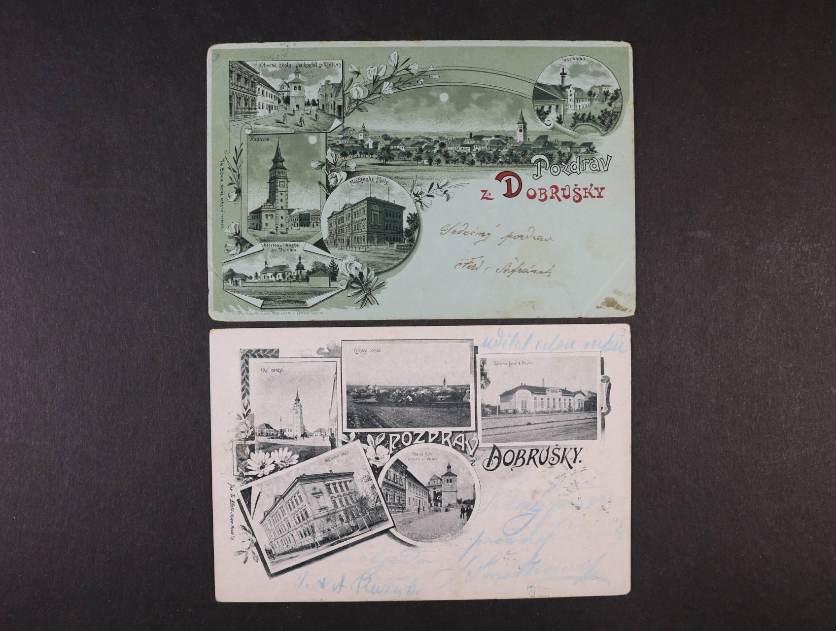 Dobruška - dvě litograf. koláže, dl. asdresa, použité 1898 a 1901