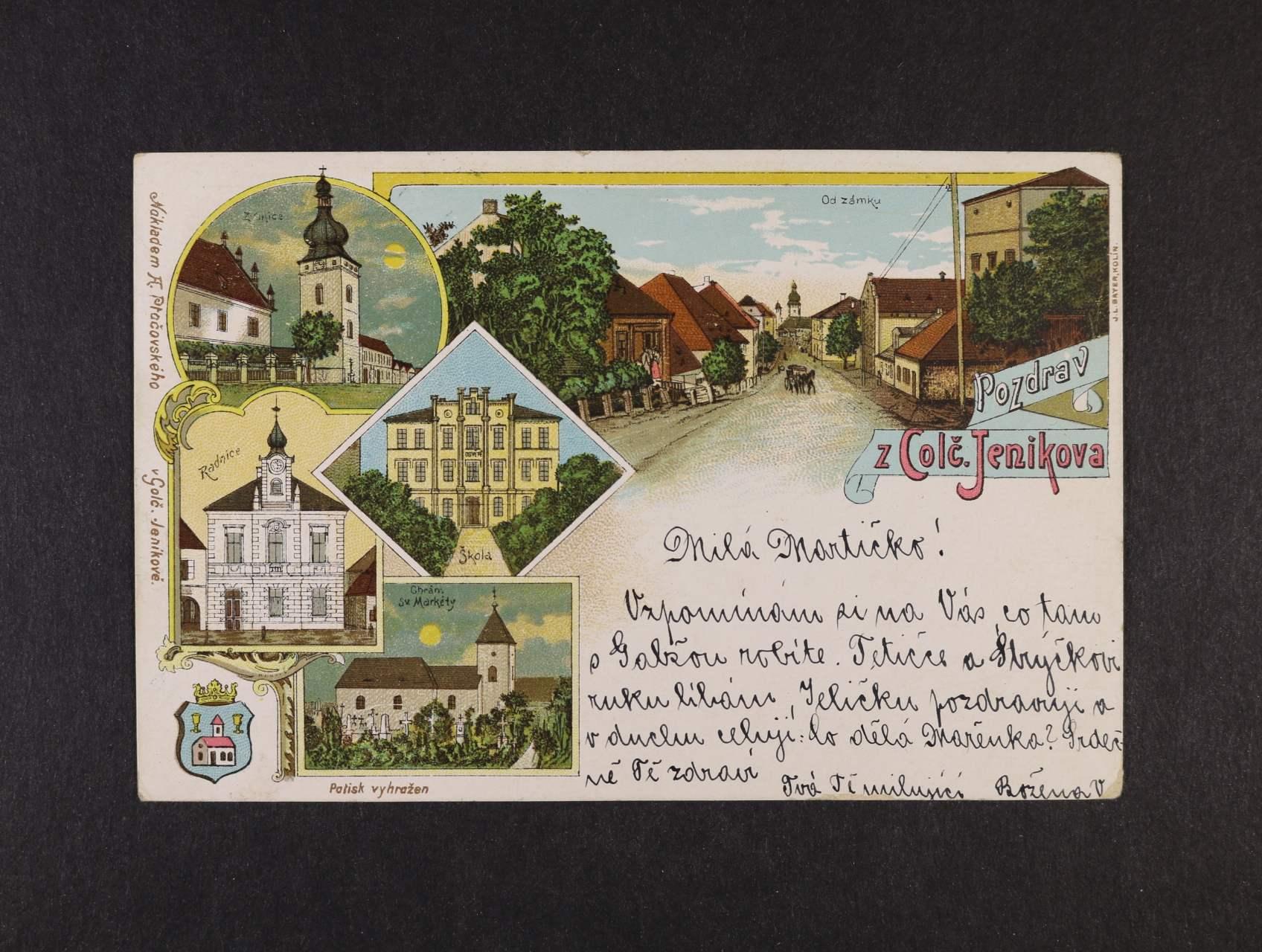 Golčův Jeníkov - bar. litograf. koláž, použitá 1898, dobrá kvalita