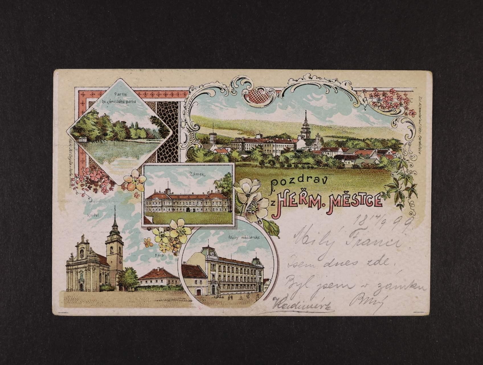 Heřmanův Městec - bar. litograf. koláž použitá 1899