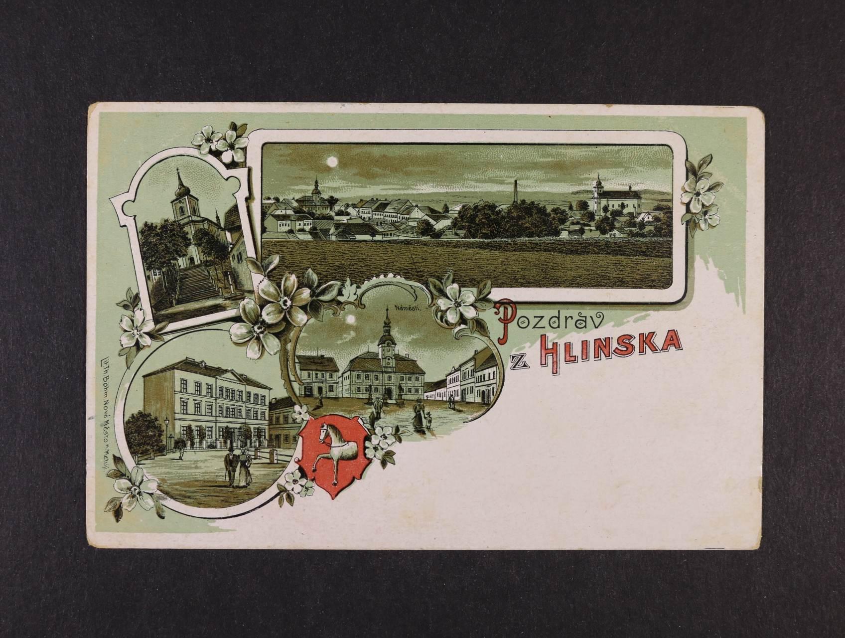 Hlinsko - bar. litograf. koláž, použitá 1899
