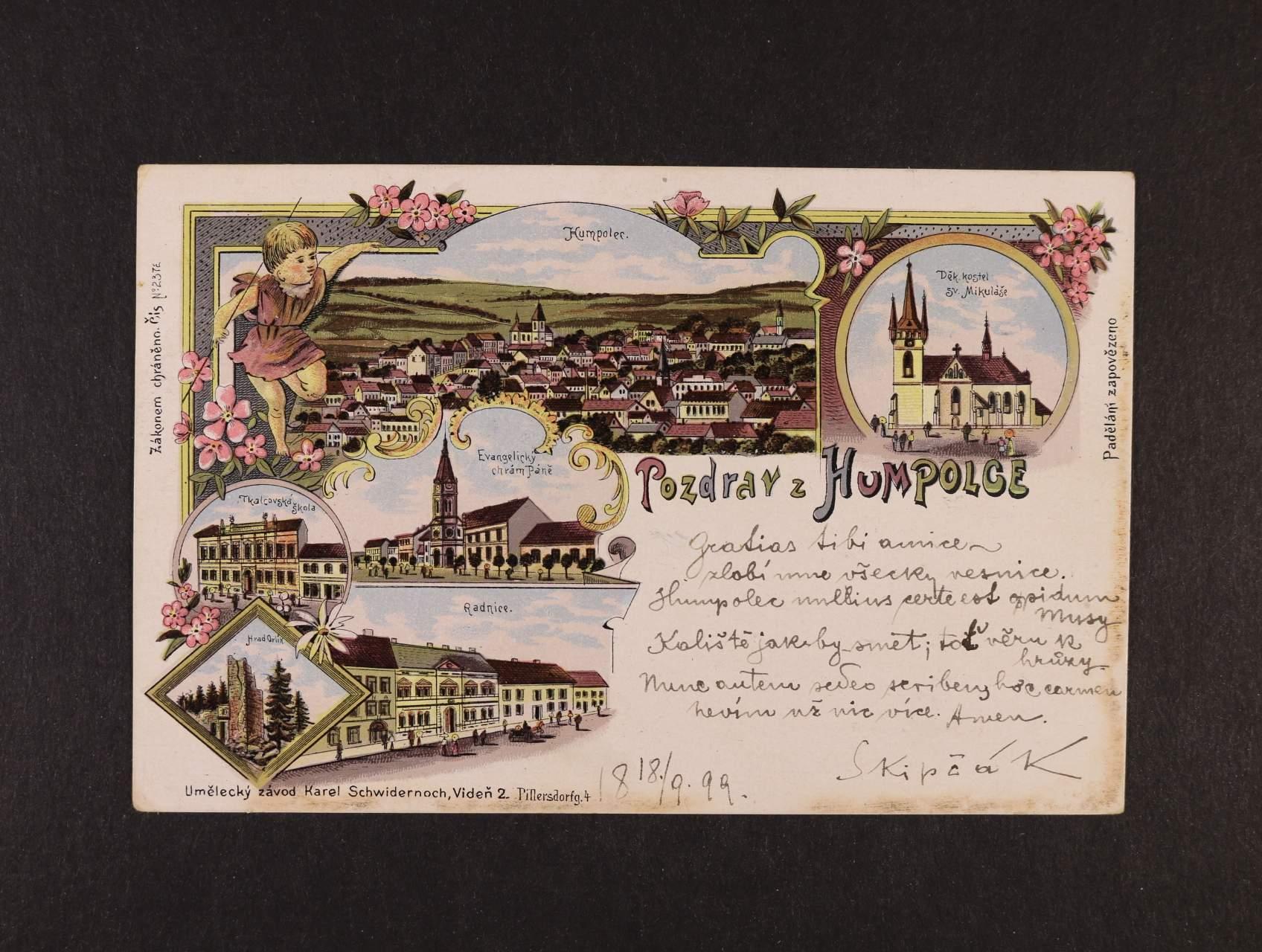 Humpolec - bar. litograf. koláž