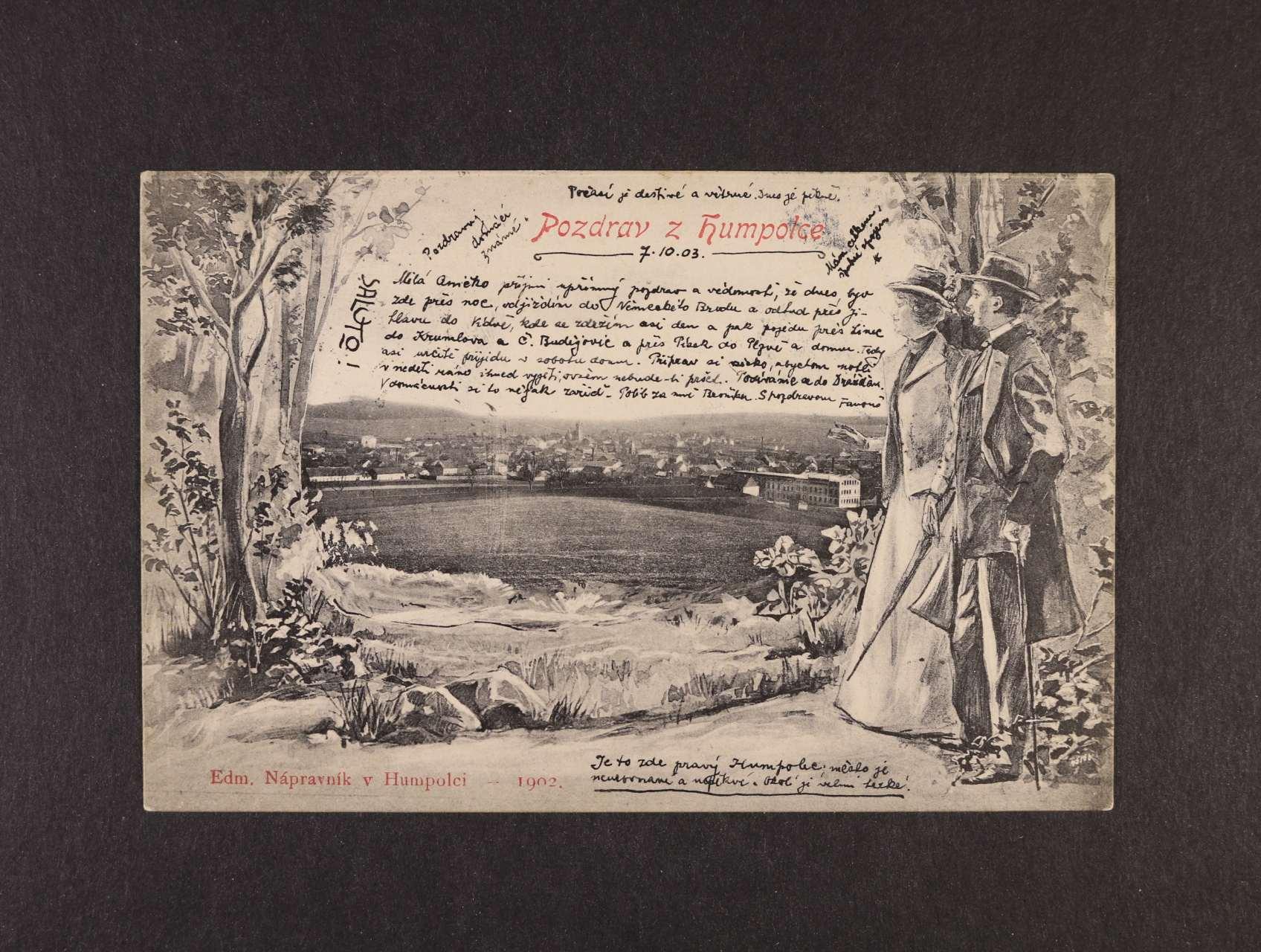 Humpolec - jednobar. litograf. koláž, použitá 1903