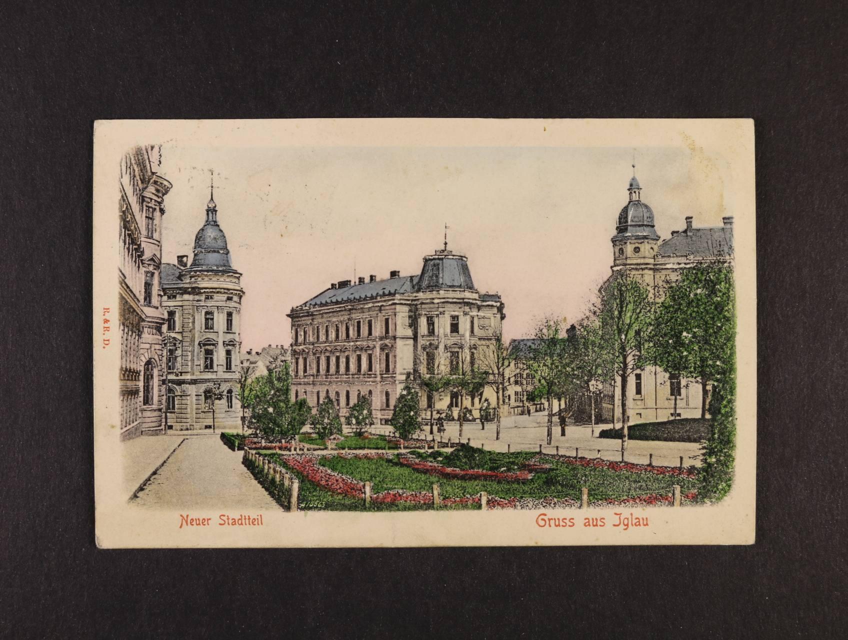 Jihlava - bar. reliéfní pohlednice použitá 1909