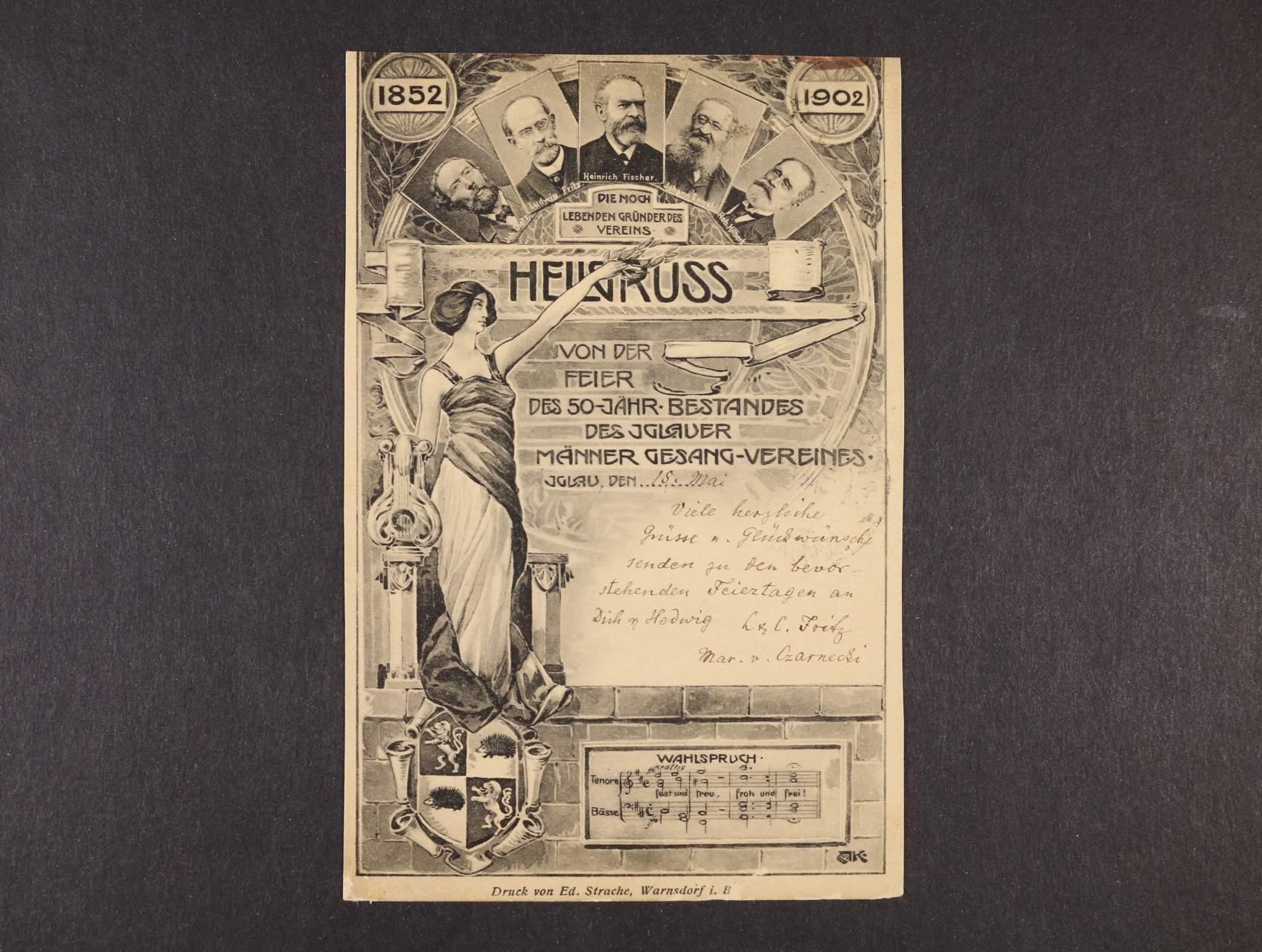 Jihlava - pozdrav z oslav 50tého výročí Jihlavského mužského pěveckého sporu - jednobar. litograf. koláž, použitá 1902, dobrá kvalita
