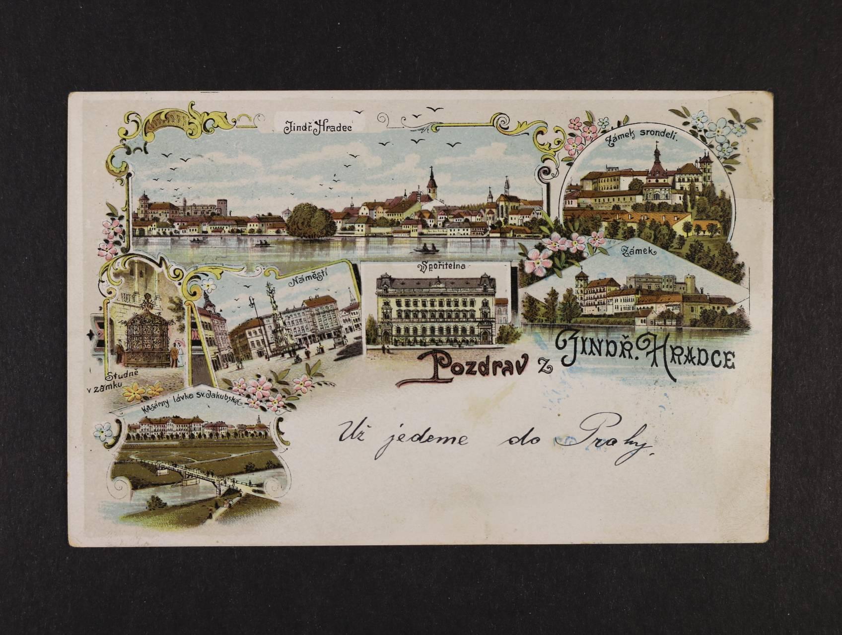 Jindřichlův Hradec - bar. litograf. koláž, použitá 1901, v pravém horním rohu lom