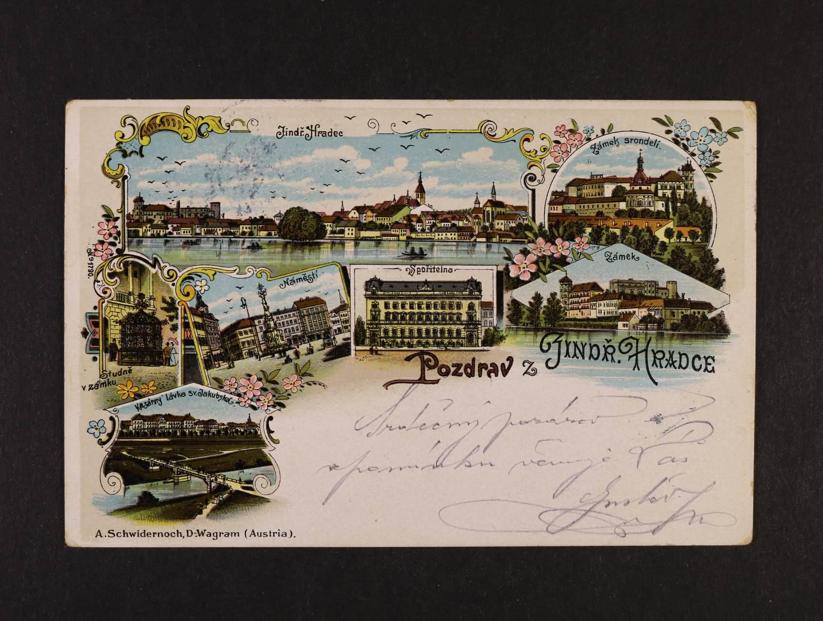 Jindřichův Hradec - bar. litograf. koláž