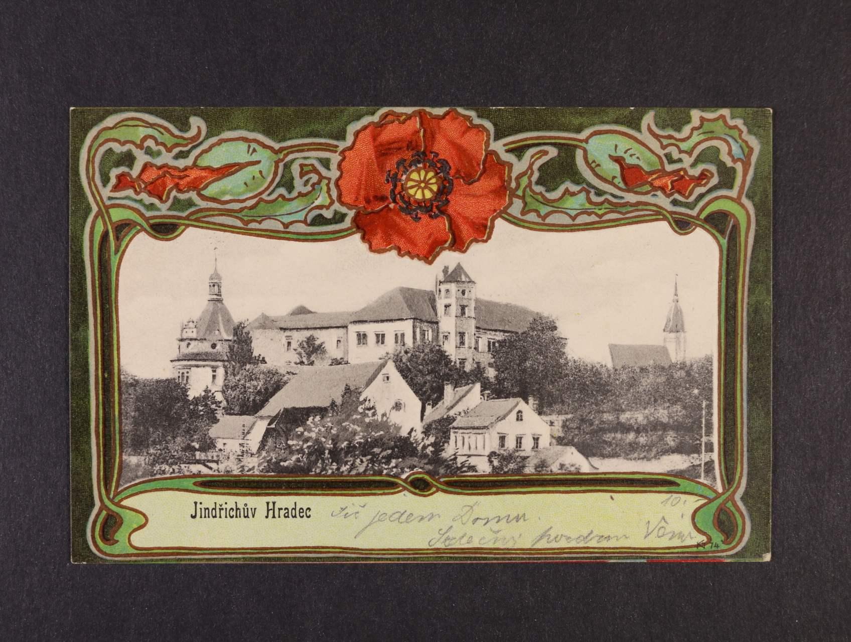 Jindřichův Hradec - bar. litograf. koláž použitá 1904, velmi dobrá kvalita