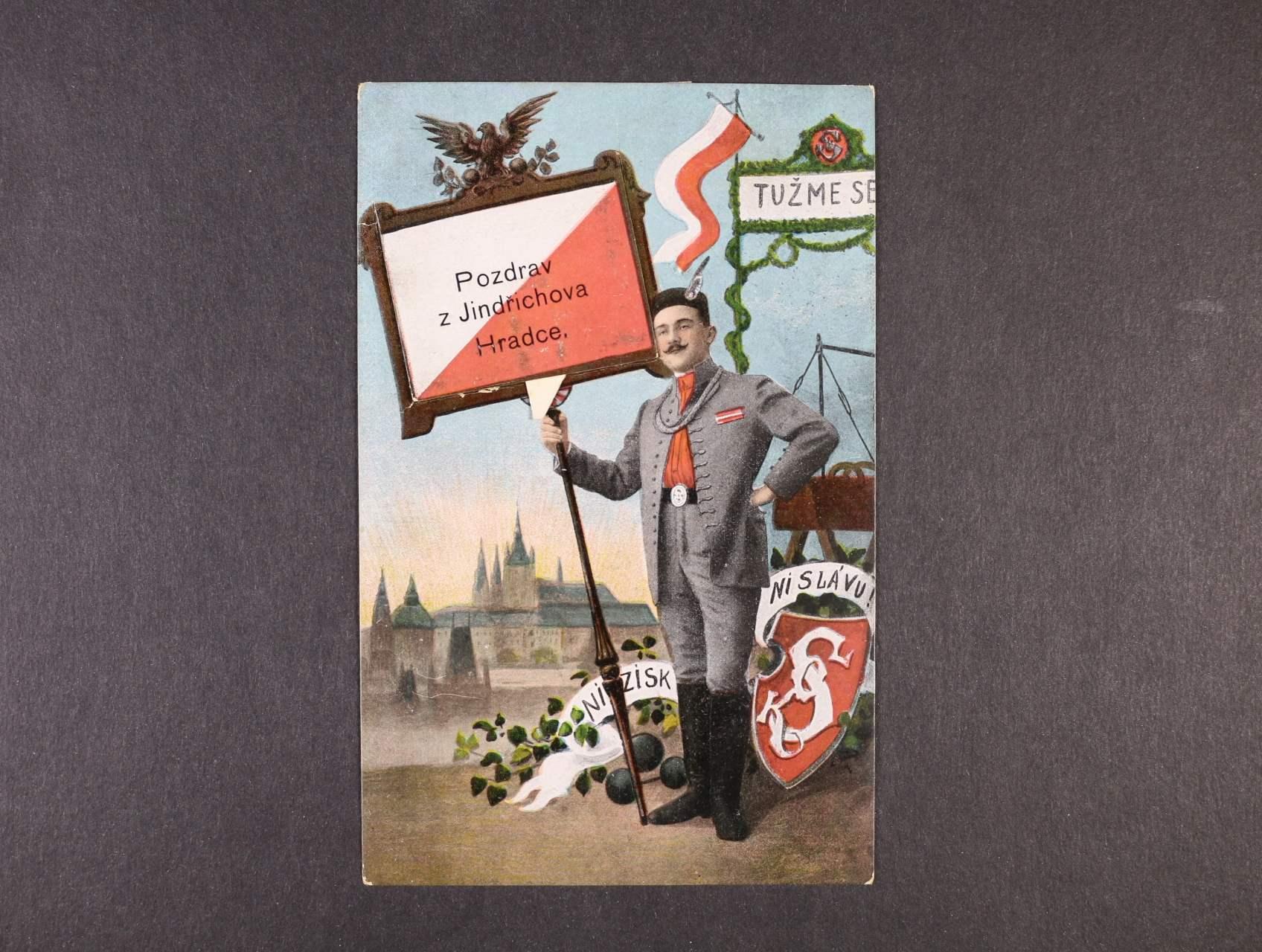 Jindřichův Hradec - barevná sokolská pohlednice s leporelem, orig. ručně slepovaná, použitá 1912