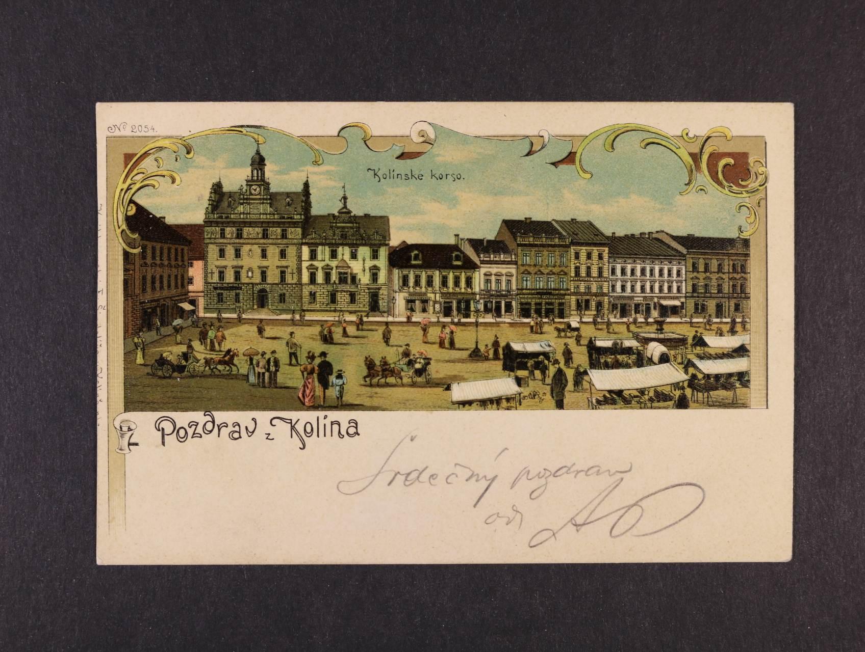 Kolín - bar. litograf. koláž, nepoužitá, dobrá kvalita
