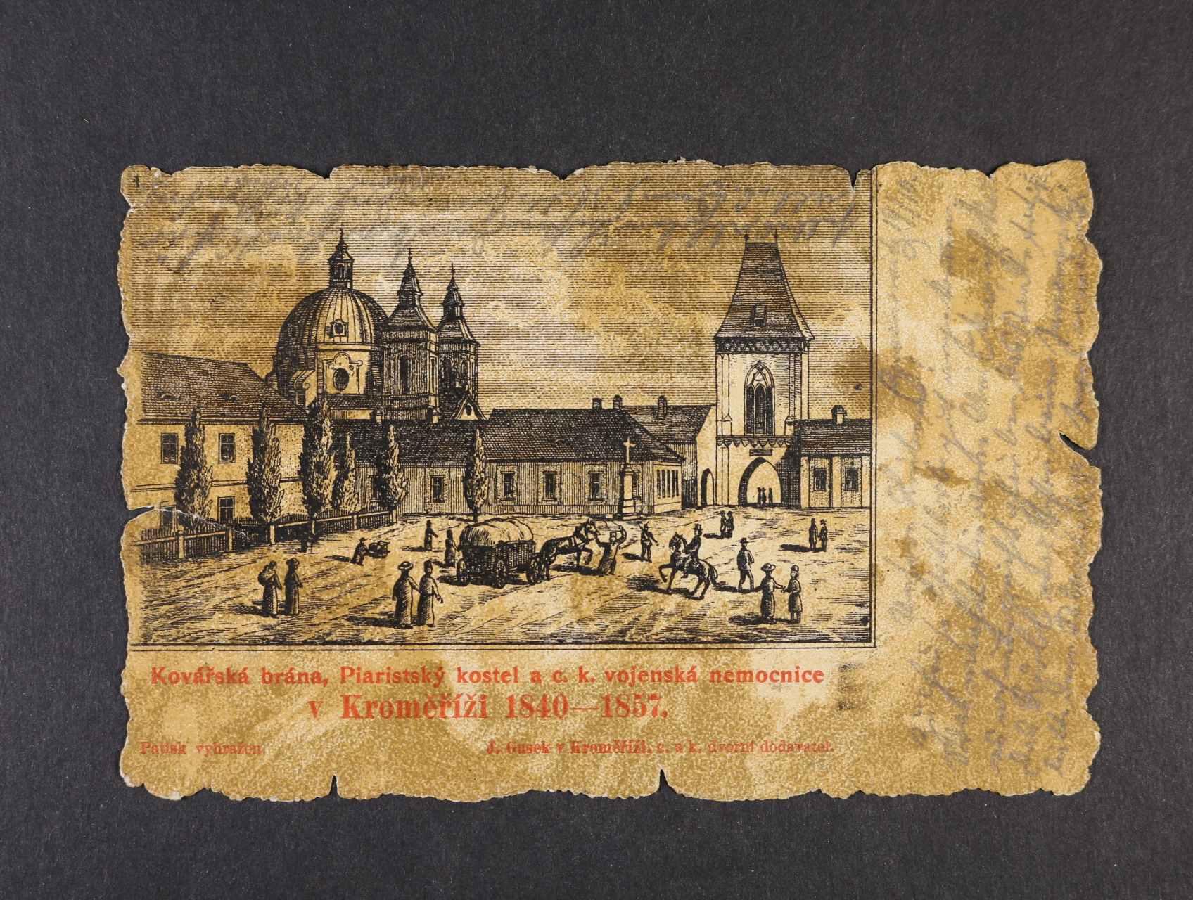 Kroměříž - jednobar. pohlednice použitá 1900 s raz. VLP Brünn - Prerau, dobrá kvalita