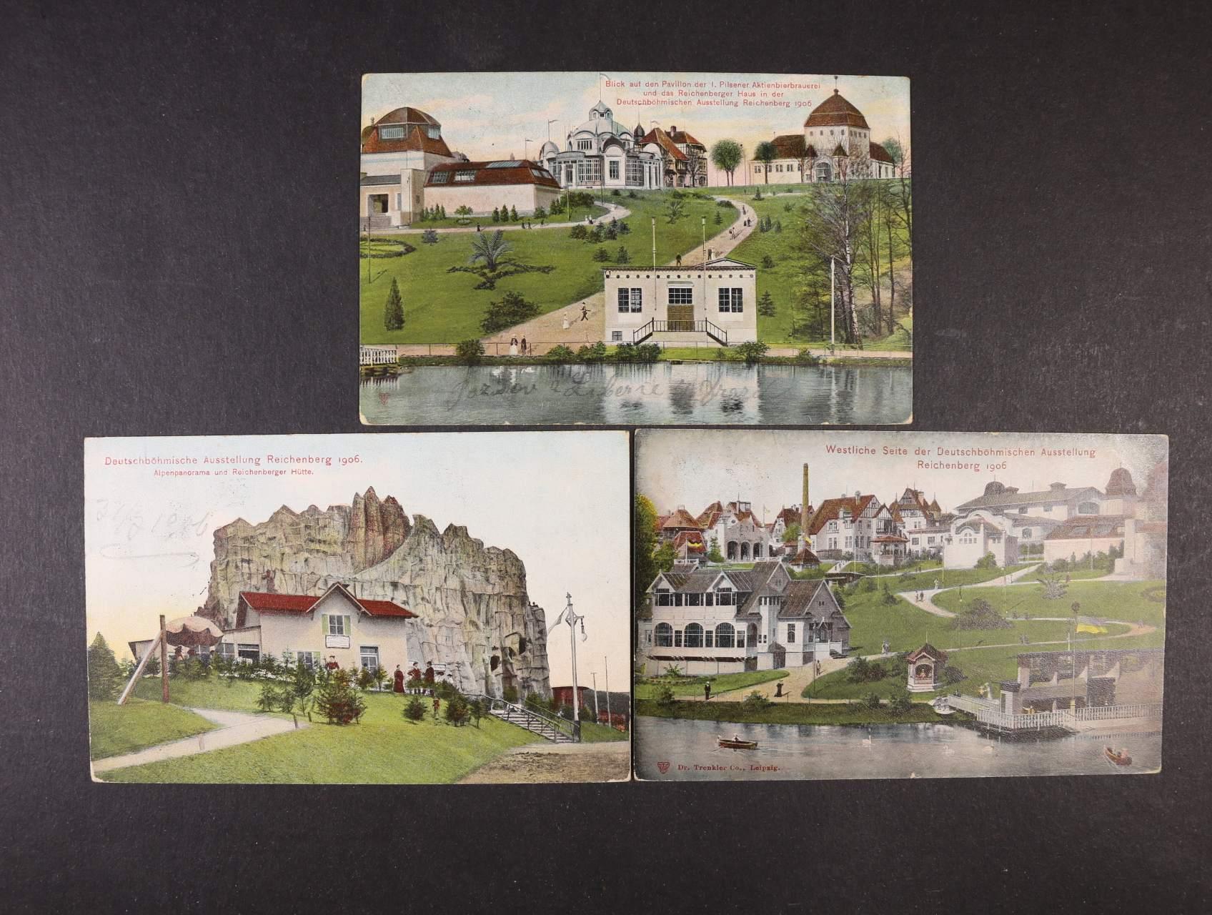 Liberec - sestava 3 ks bar. pohlednic Německo-česká výstava Liberec 1906, použité, zajímavé