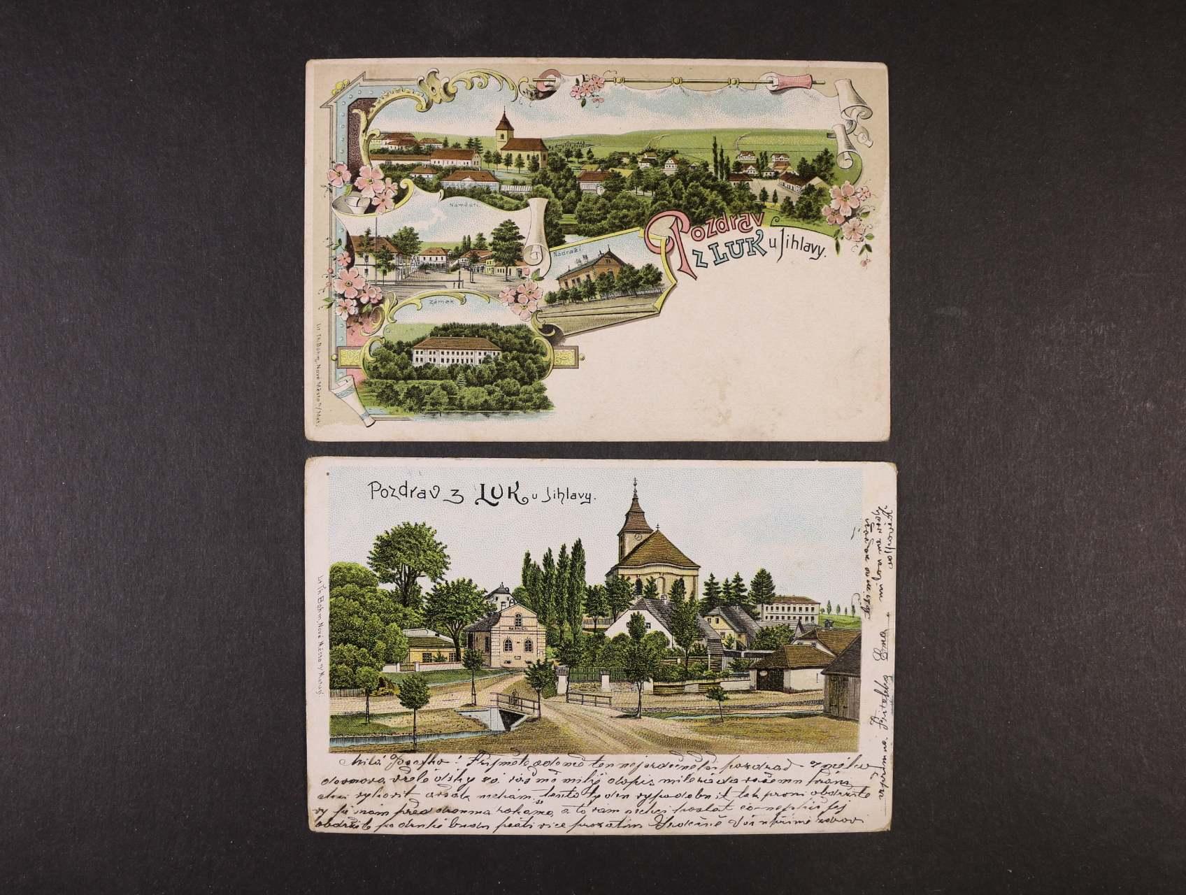 Luka u Jihlavy - bar. litograf. koláž nepoužitá + bar. litograf. koláž použitá 1903, zajímavé
