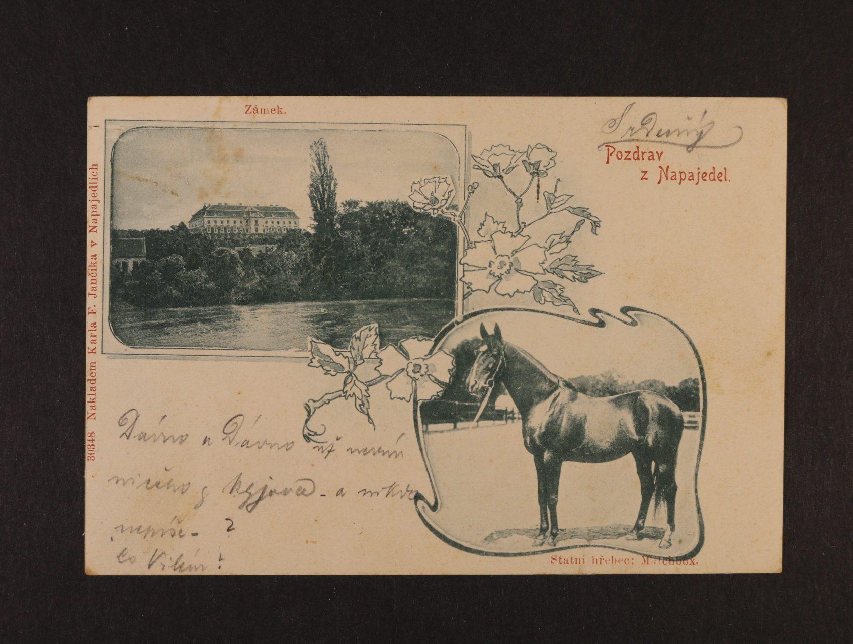 Napajedla - jednobar. litograf. koláž, použitá 1900