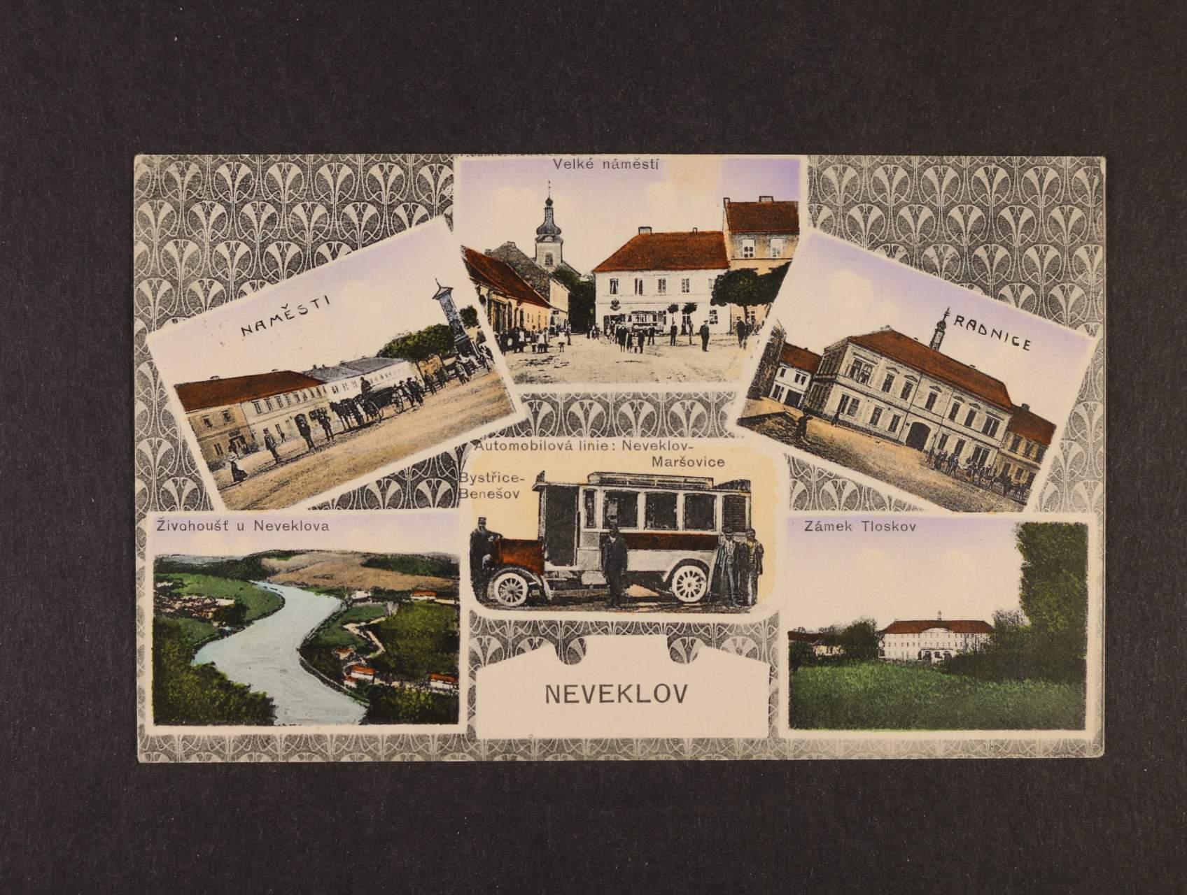 Neveklov - bar. okénková pohlednice, použitá 1910