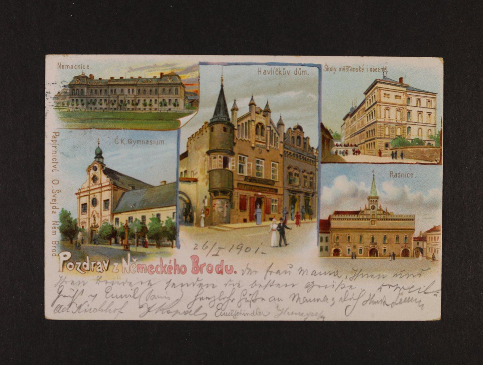 Německý Brod - bar. litograf. koláž použitá 1901