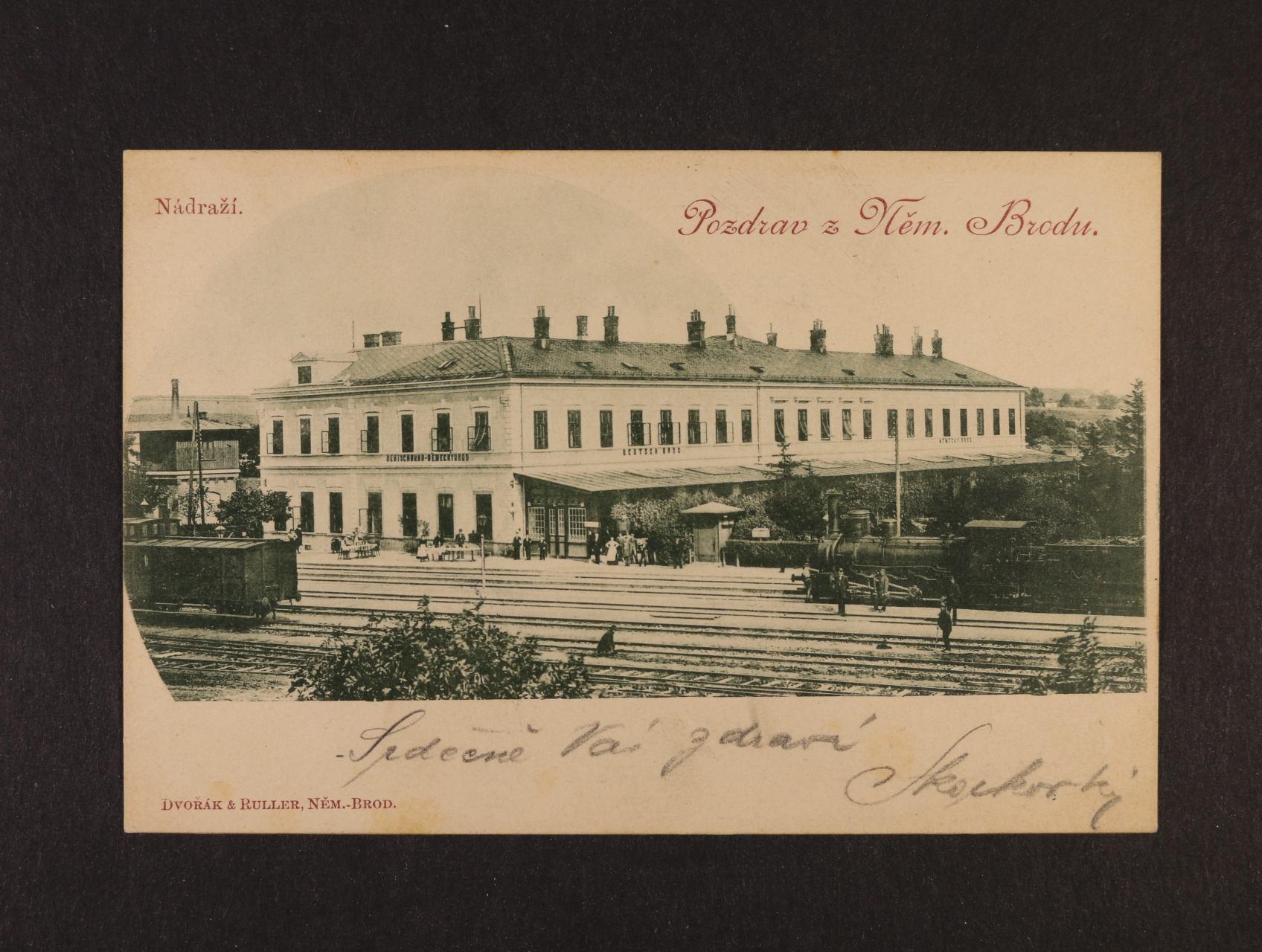 Německý Brod - jednobar. pohlednice nádraží, použitá 10900, dobrá kvalita