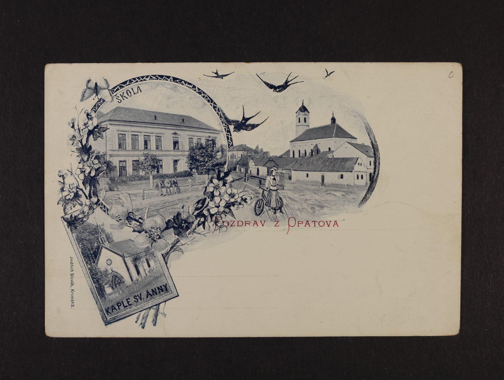Opatov - jednobar. litograf. koláž, dl. adresa, nepoužitá, dobrá kvalita