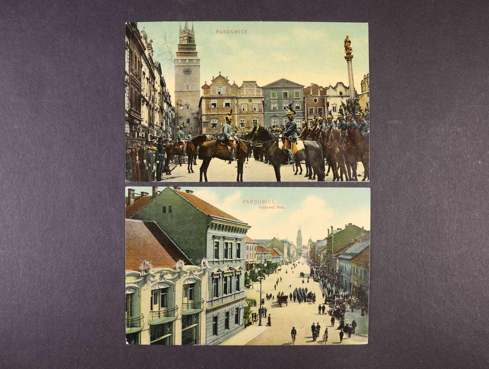 Pardubice - dvě bar. pohlednice vojenské manévry 1908, dobrá kvalita, použité