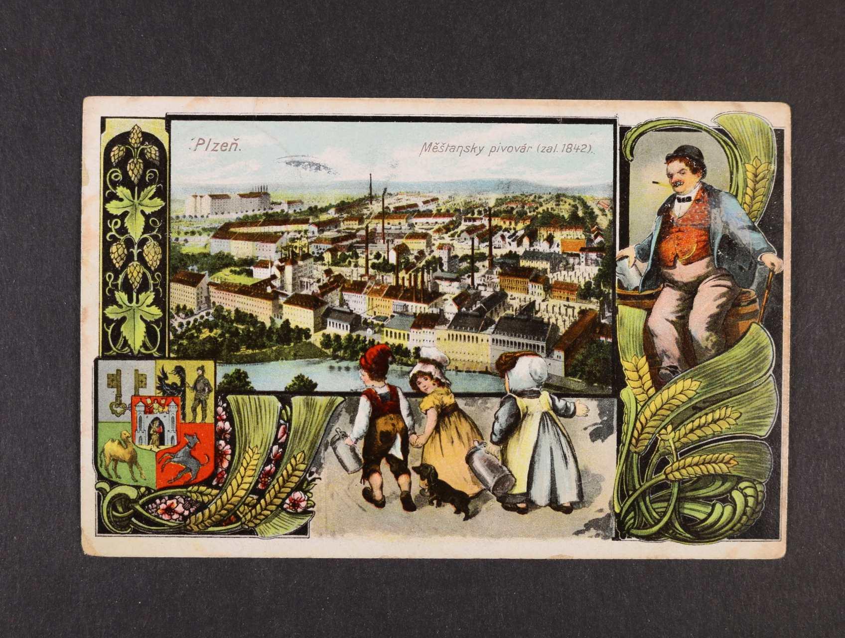 Plzeň - Měšťanský pivovar - bar. litograf. koláž, použitá 1907