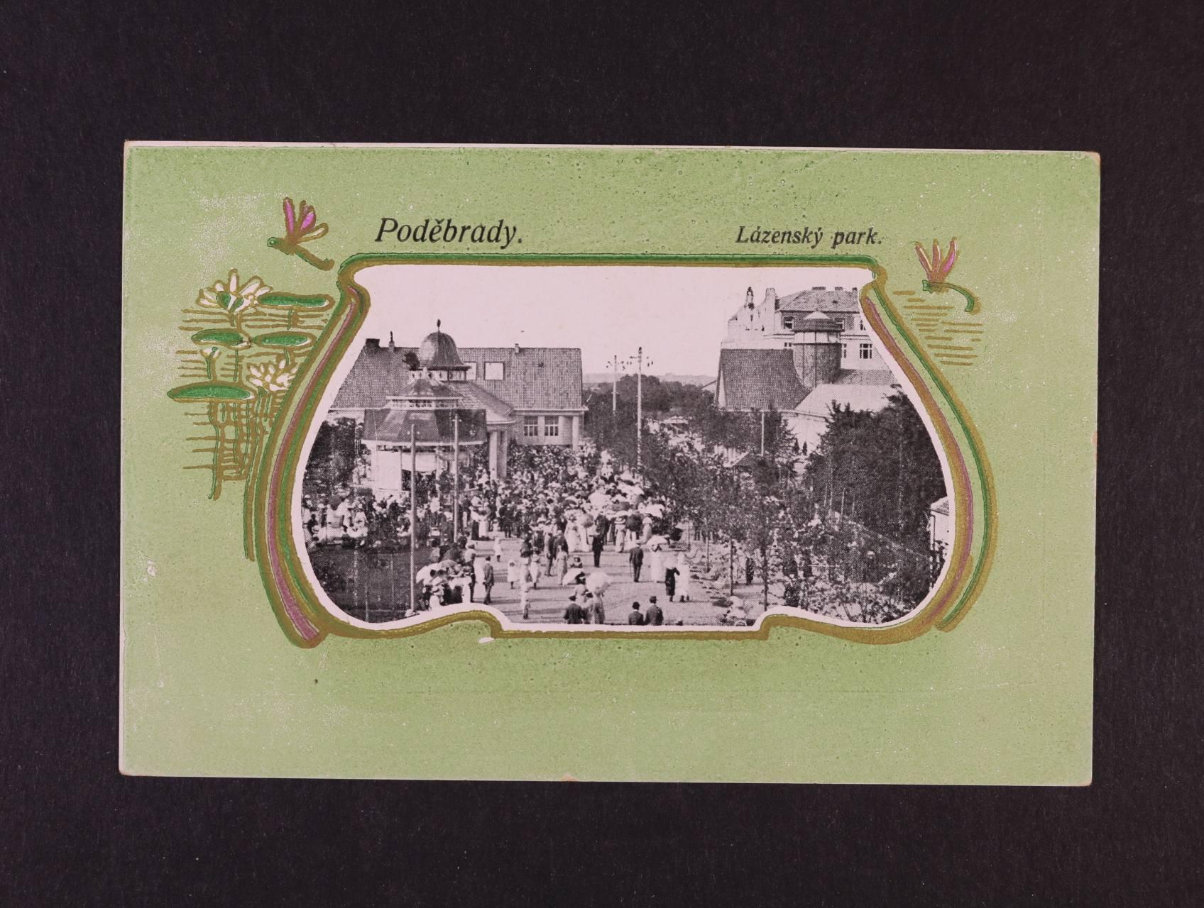 Poděbrady - lázeňský park, koláž, použitá 1920, velmi dobrá kvalita