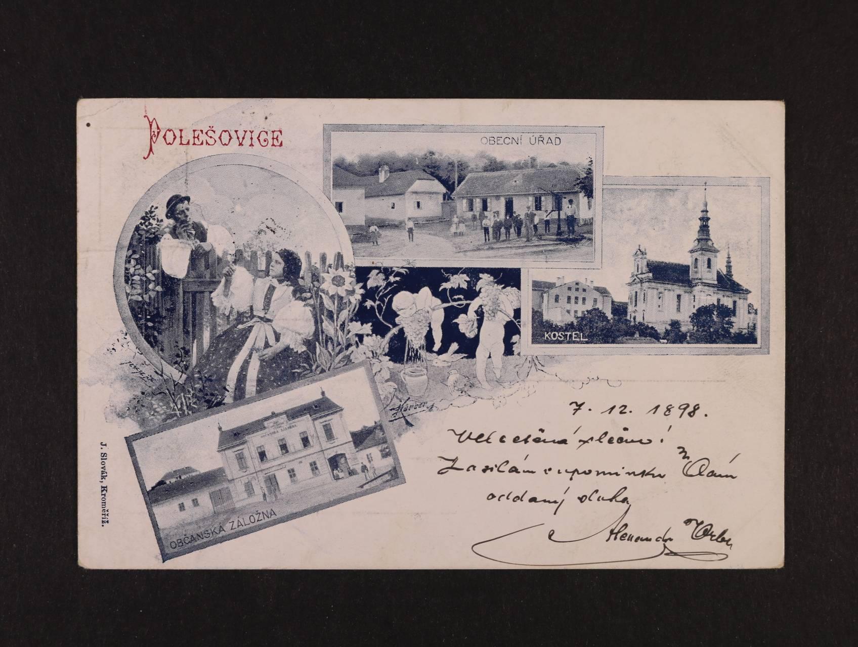 Polešovice - jednobar. litograf. koláž, dl. adresa, použitá 1898
