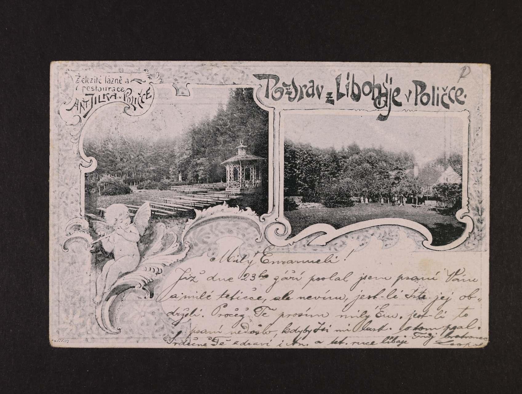 Polička - jednobar. litograf. koláž, dl. adresa, použitá 1899