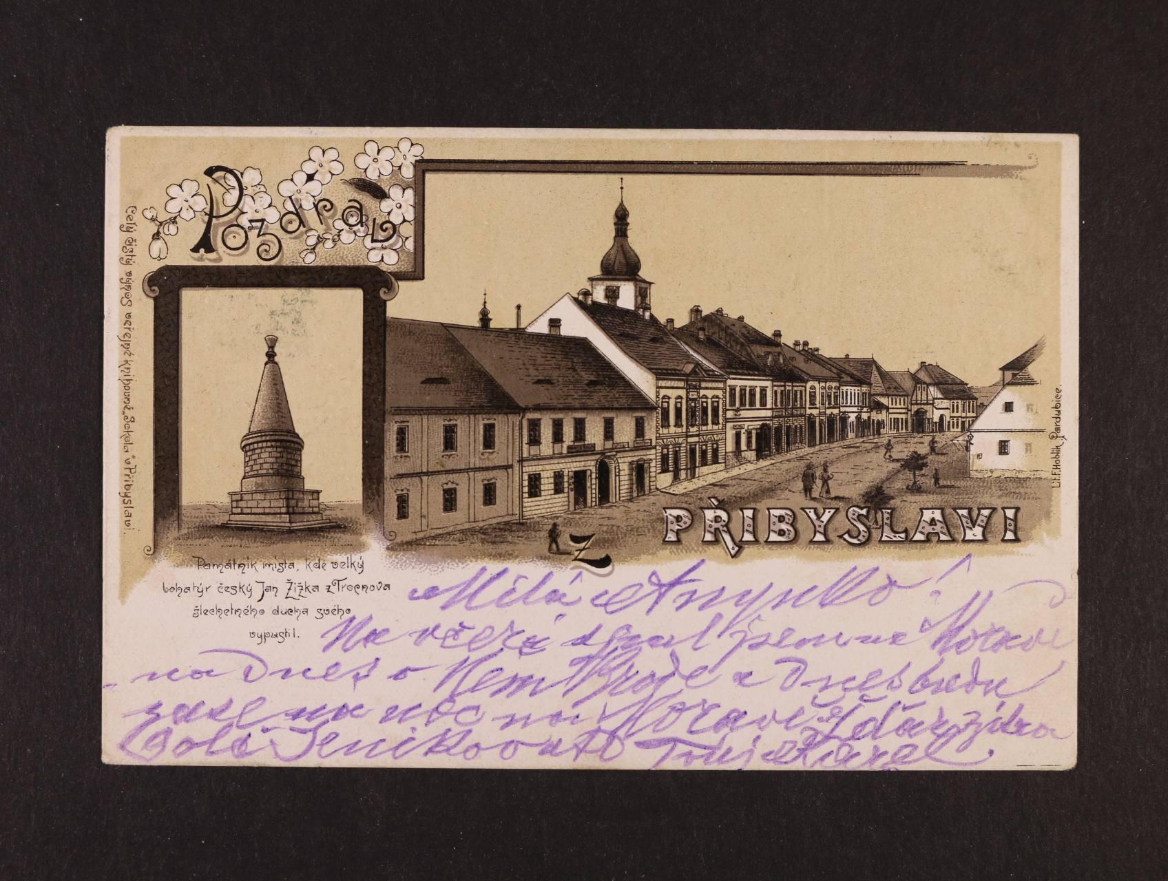 Přibyslav - jednobar. litograf. koláž, použitá 1902, dobrá kvalita