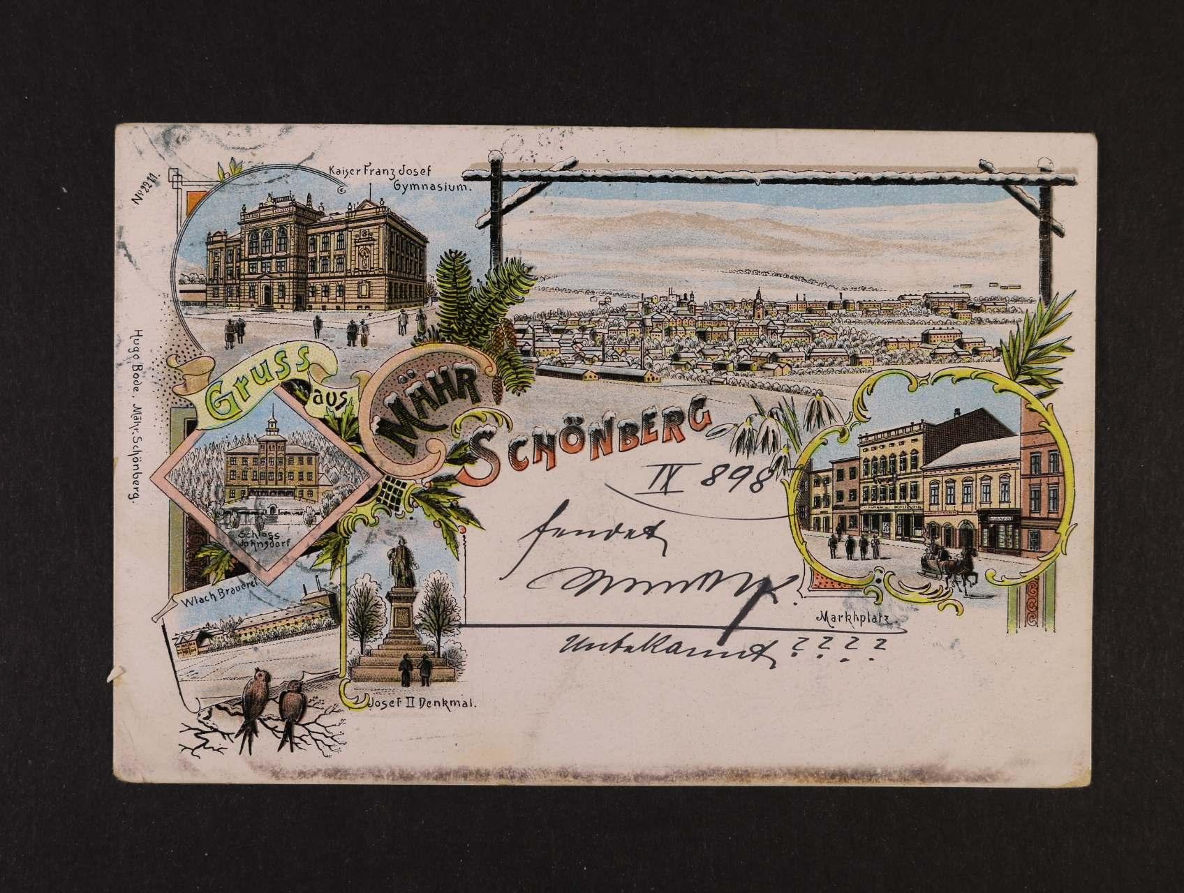 Schömberg Mähr - bar. litograf. koláž, dl. adresa, použitá 1898