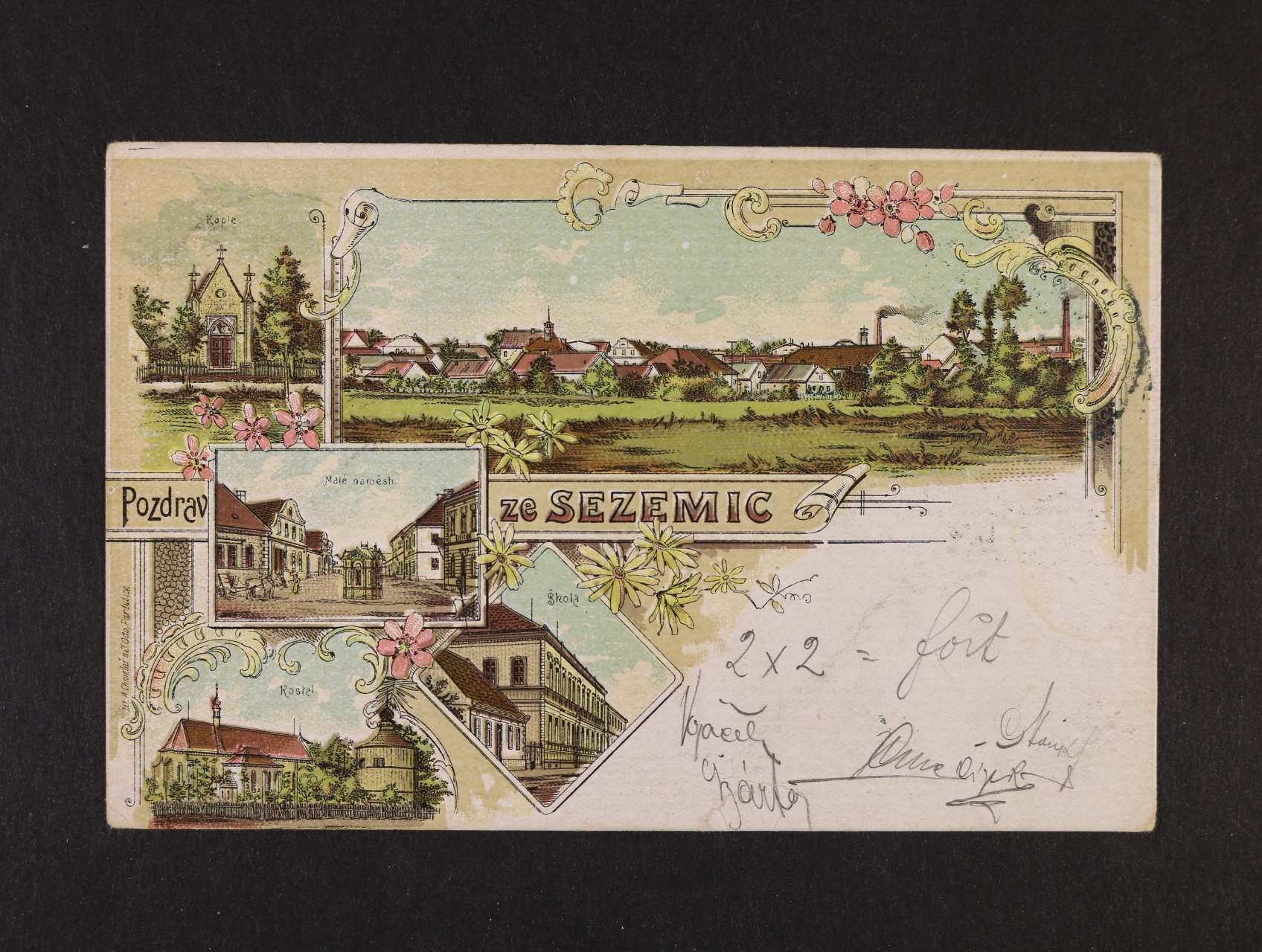 Sezemice - bar. litograf. koláž, dl. adresa, použitá 1899